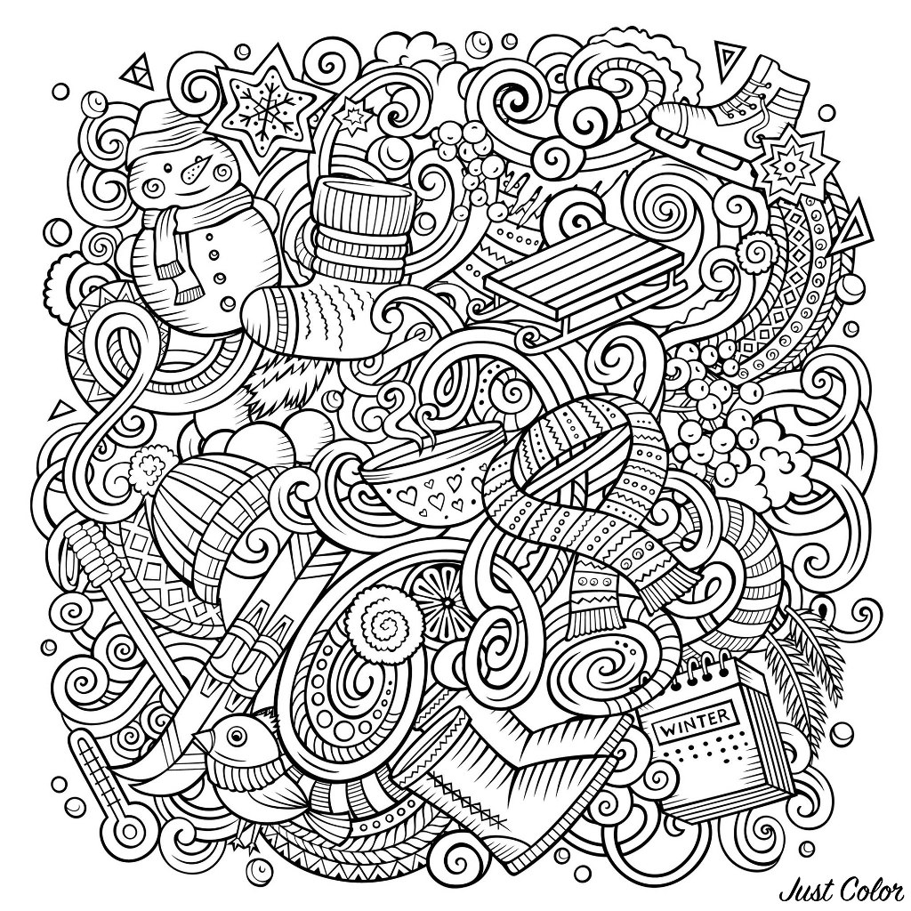 Color this beautiful doodles with various objects linked to winter : snowman, scarf, skis, toboggan ...