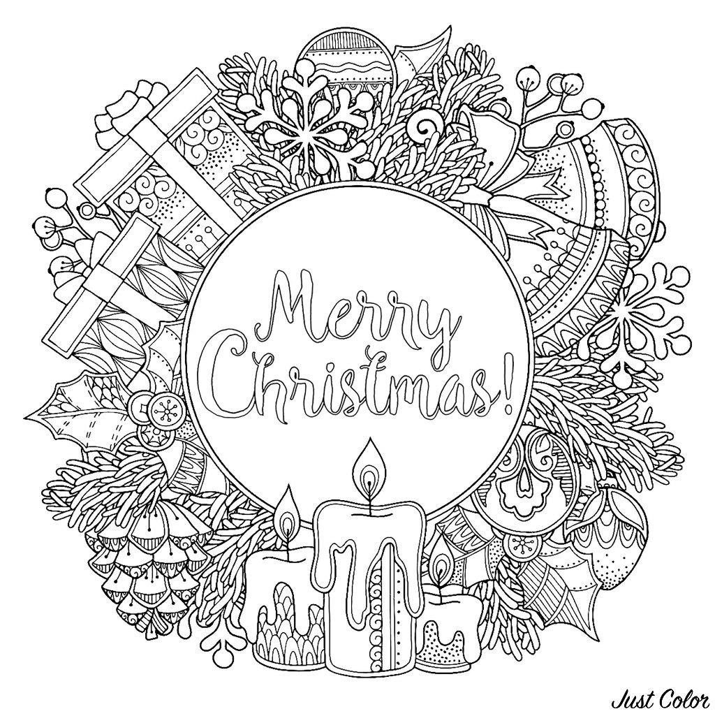 Christmas round frame in doodle style, with the text 'Merry Christmas' in the middle. Candles, gifts, pine apples, bells ... Various famous Christmas symbols are here