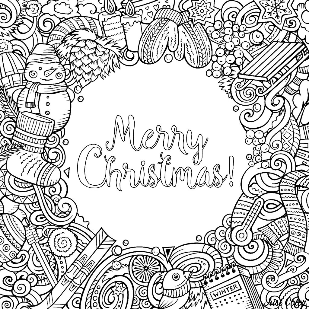 Winter Cartoon vector doodles - square frame design, with the text 'Merry Christmas !' in the middle.