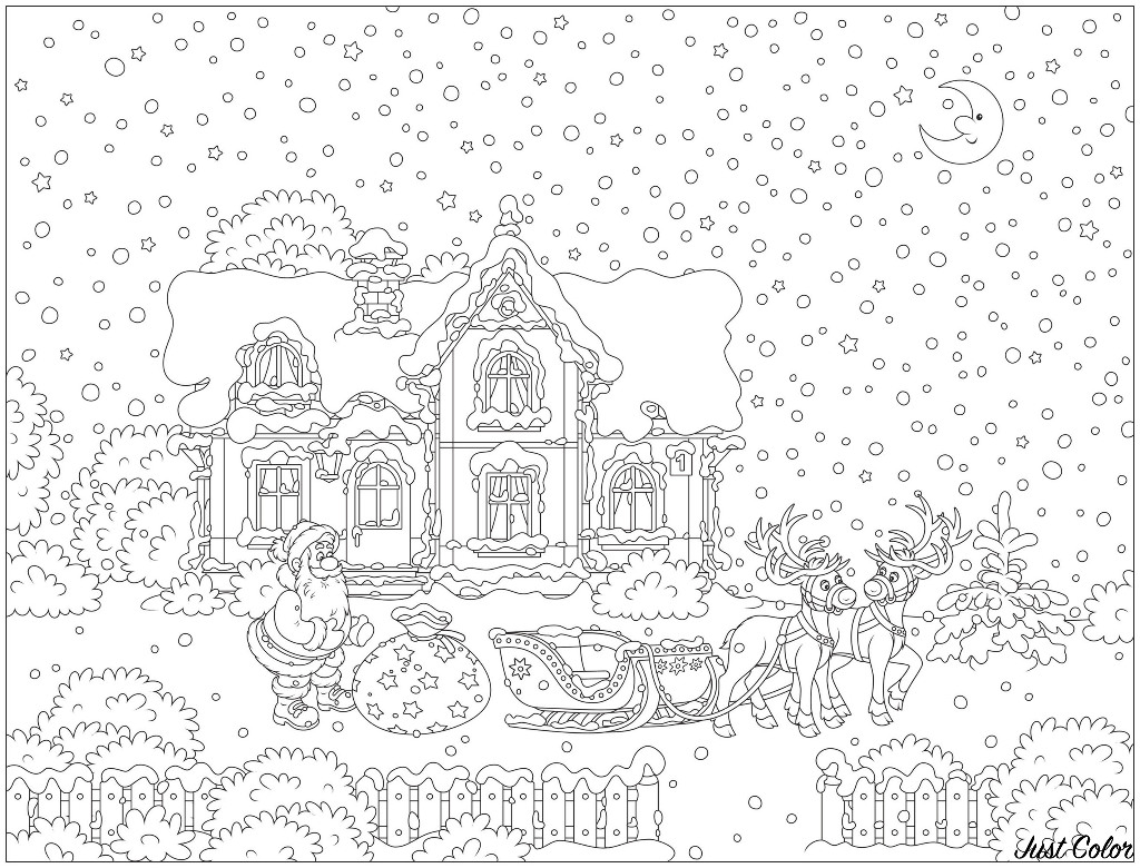 Drawing with Santa Claus and his reindeer sled in front of a beautiful house, with a sky full of snow