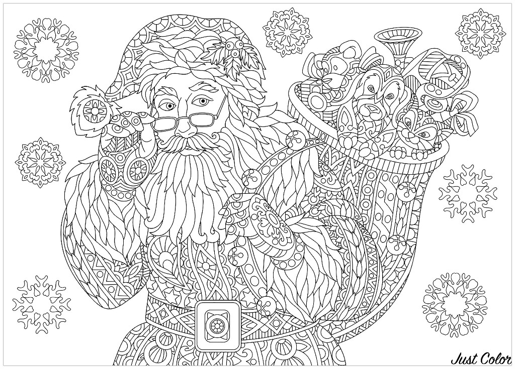 Coloring page of Santa Claus with full bag of holiday gifts.