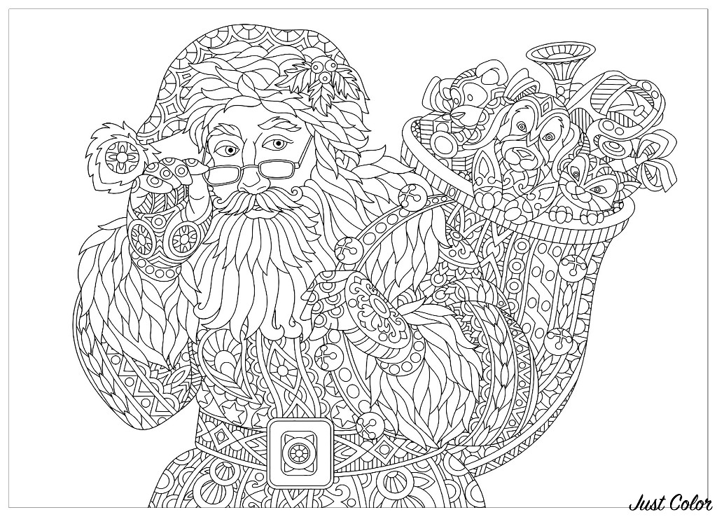 Coloring page of Santa Claus with full bag of holiday gifts, and Christmas vintage snowflakes in background.