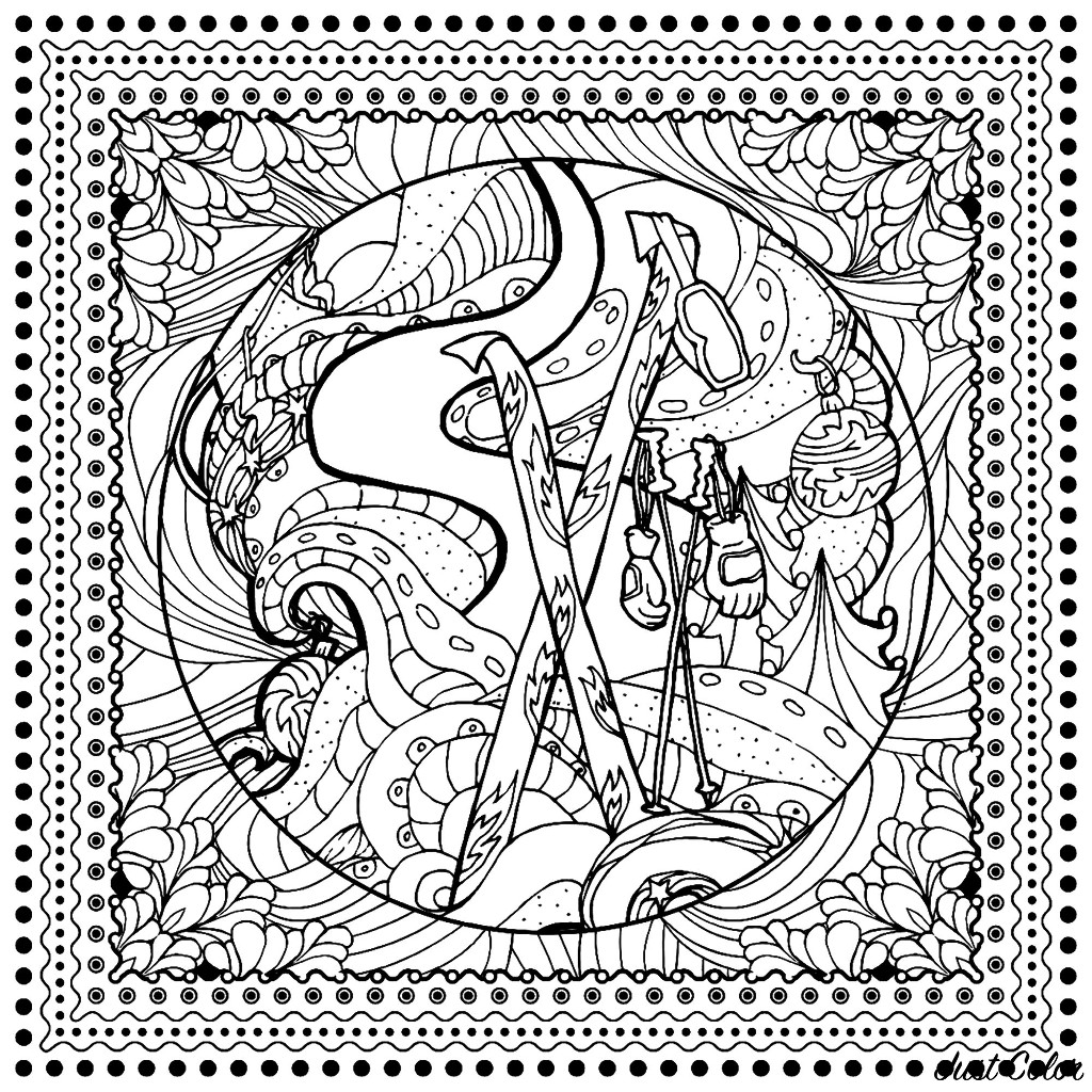 Winter Sports Ilonitta Christmas Adult Coloring Pages