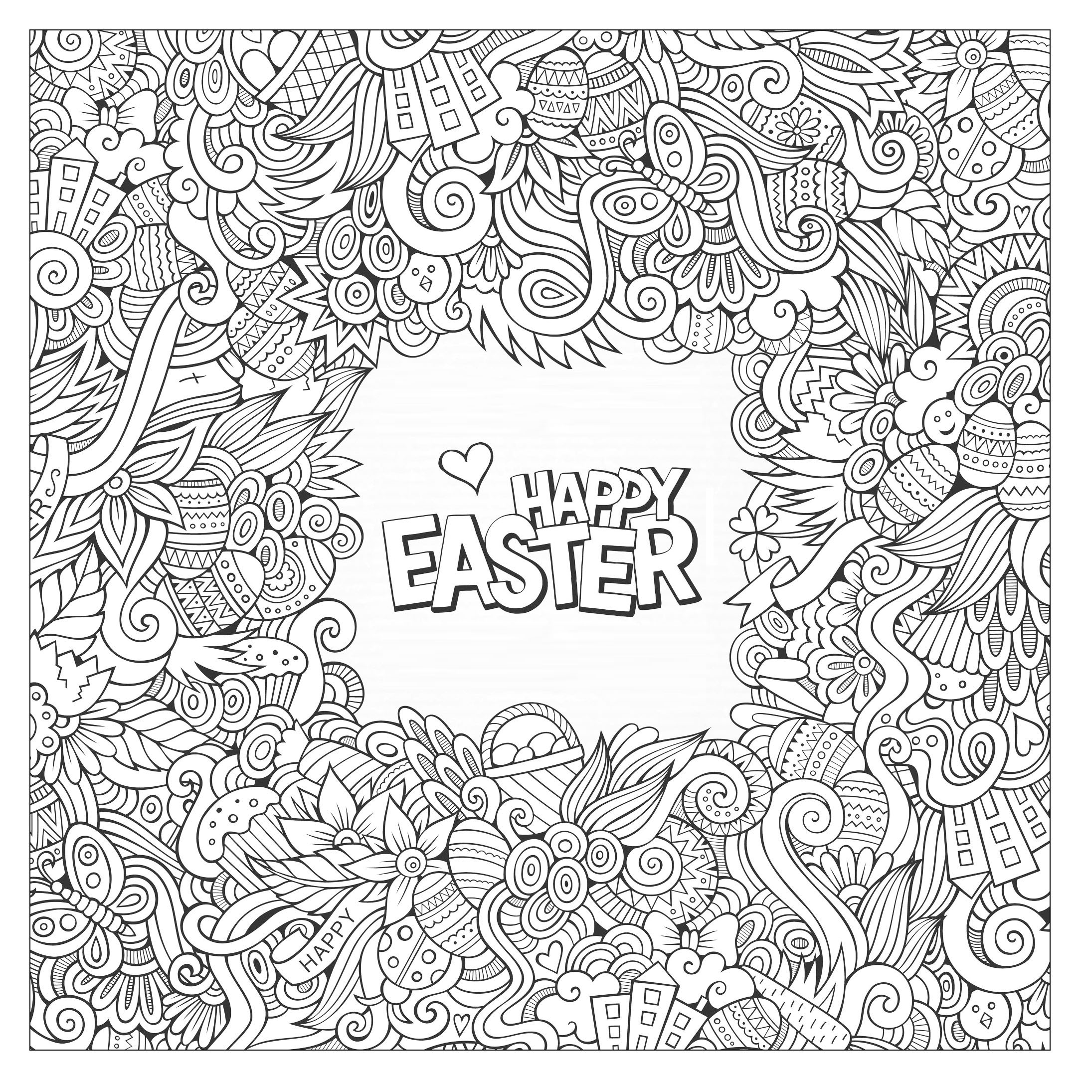 Mandala coloring pages easter - Coloring Adult Doodle Easter By Olga_kostenko Free To Print