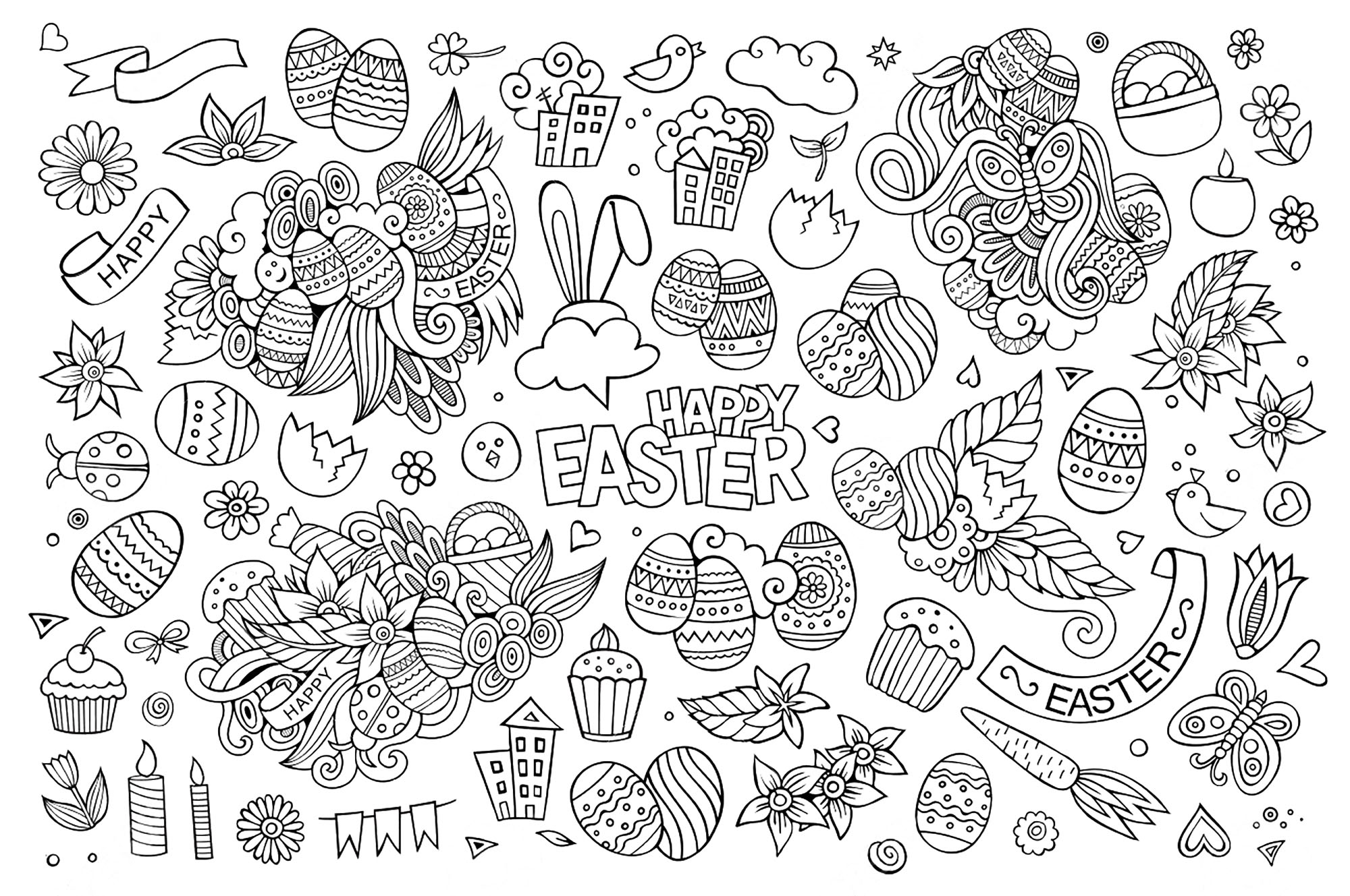 Easter hand drawn funny symbols and objects : eggs, cakes, flowers ...