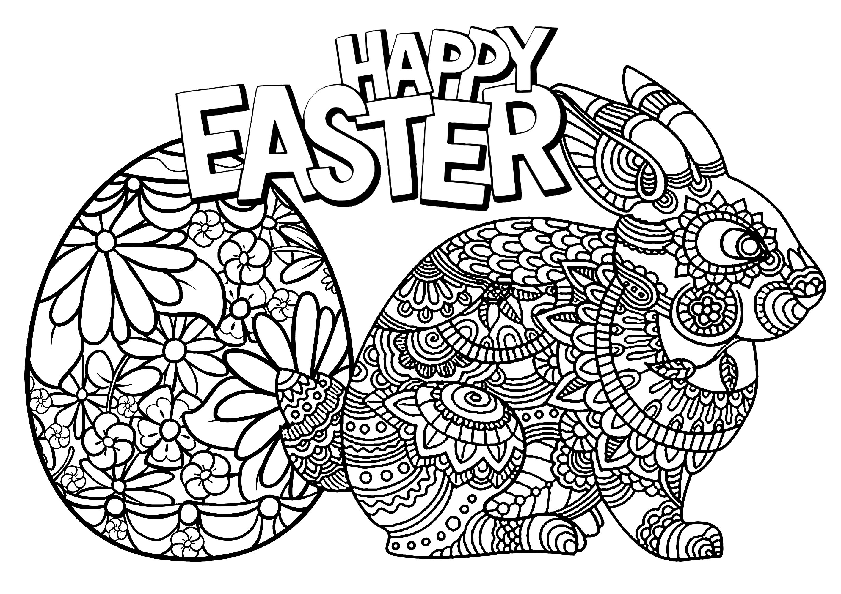 Easter egg and rabbit, with patterns, and text 'Happy Easter'