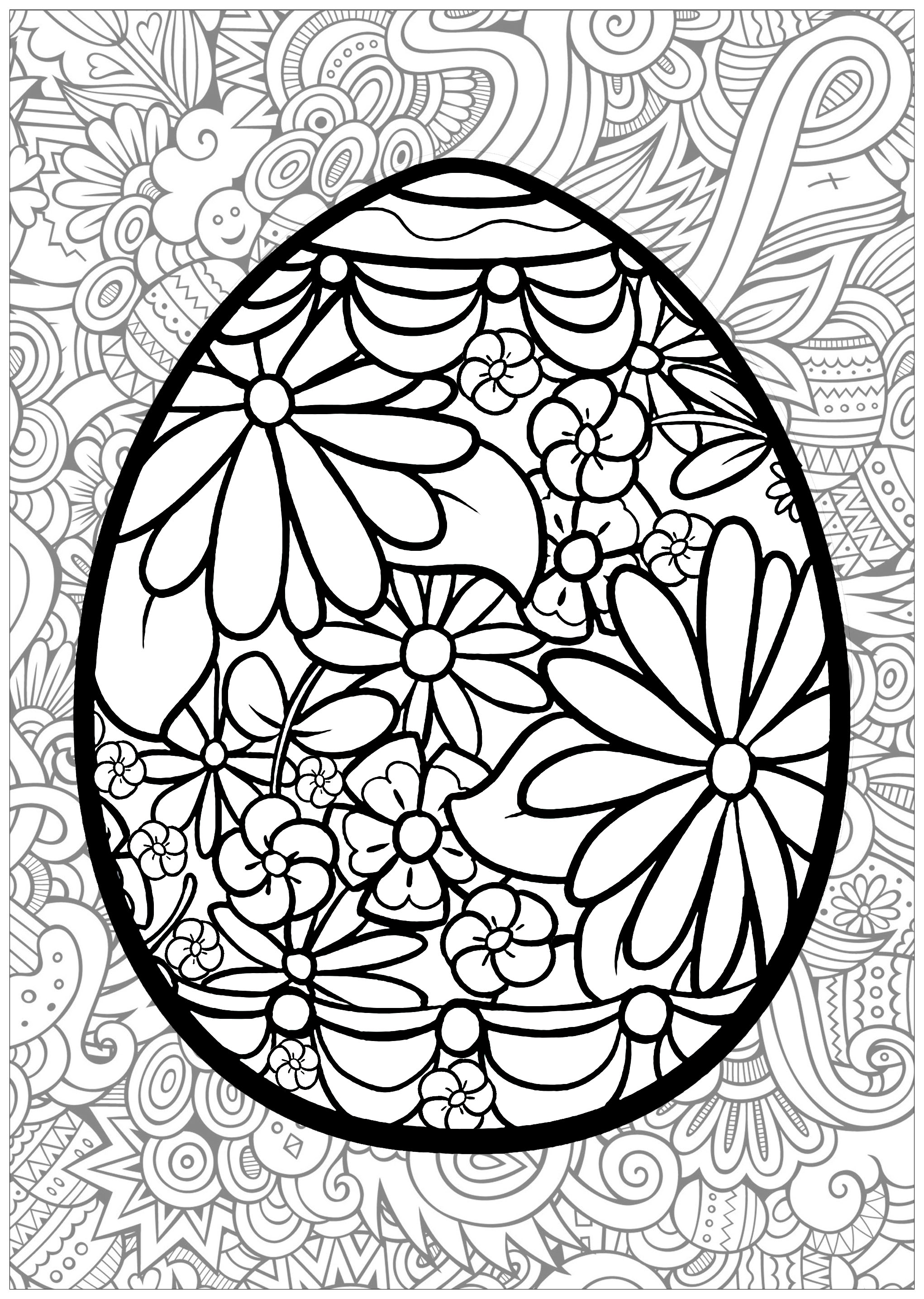 Easter Egg With Flowers And Thematic Background