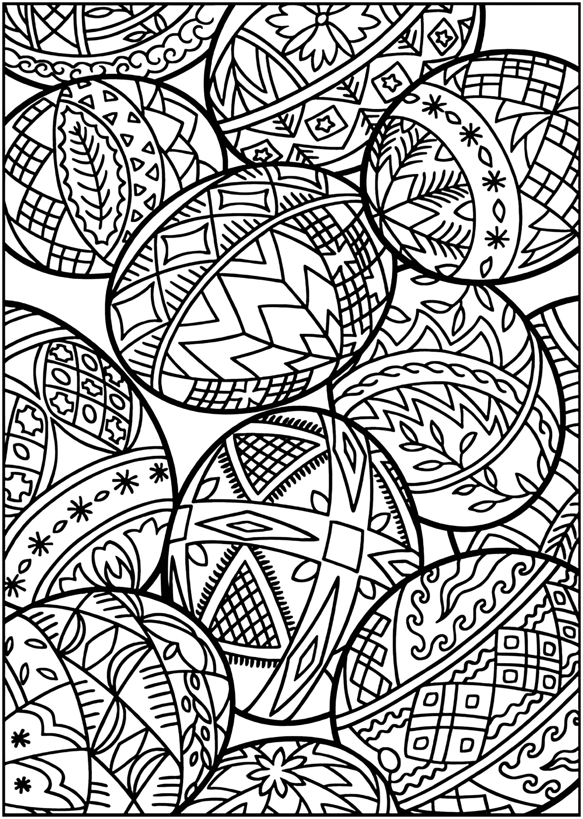 Easter eggs to print and color with various patterns