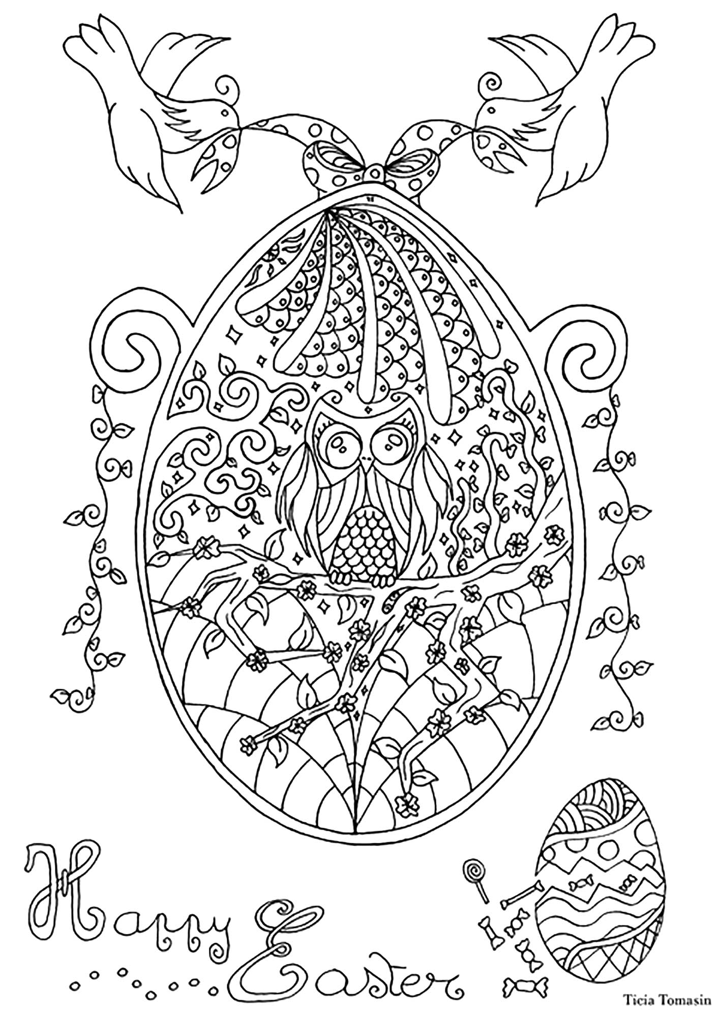 Easter Egg with owl and swallows