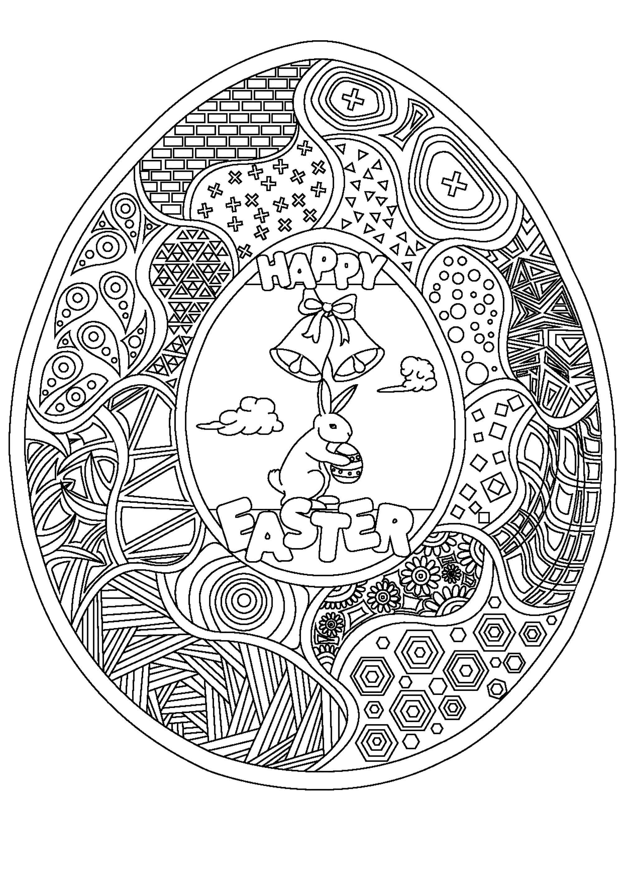 Easter egg coloring page with many patterns, a cute bunny and two bells