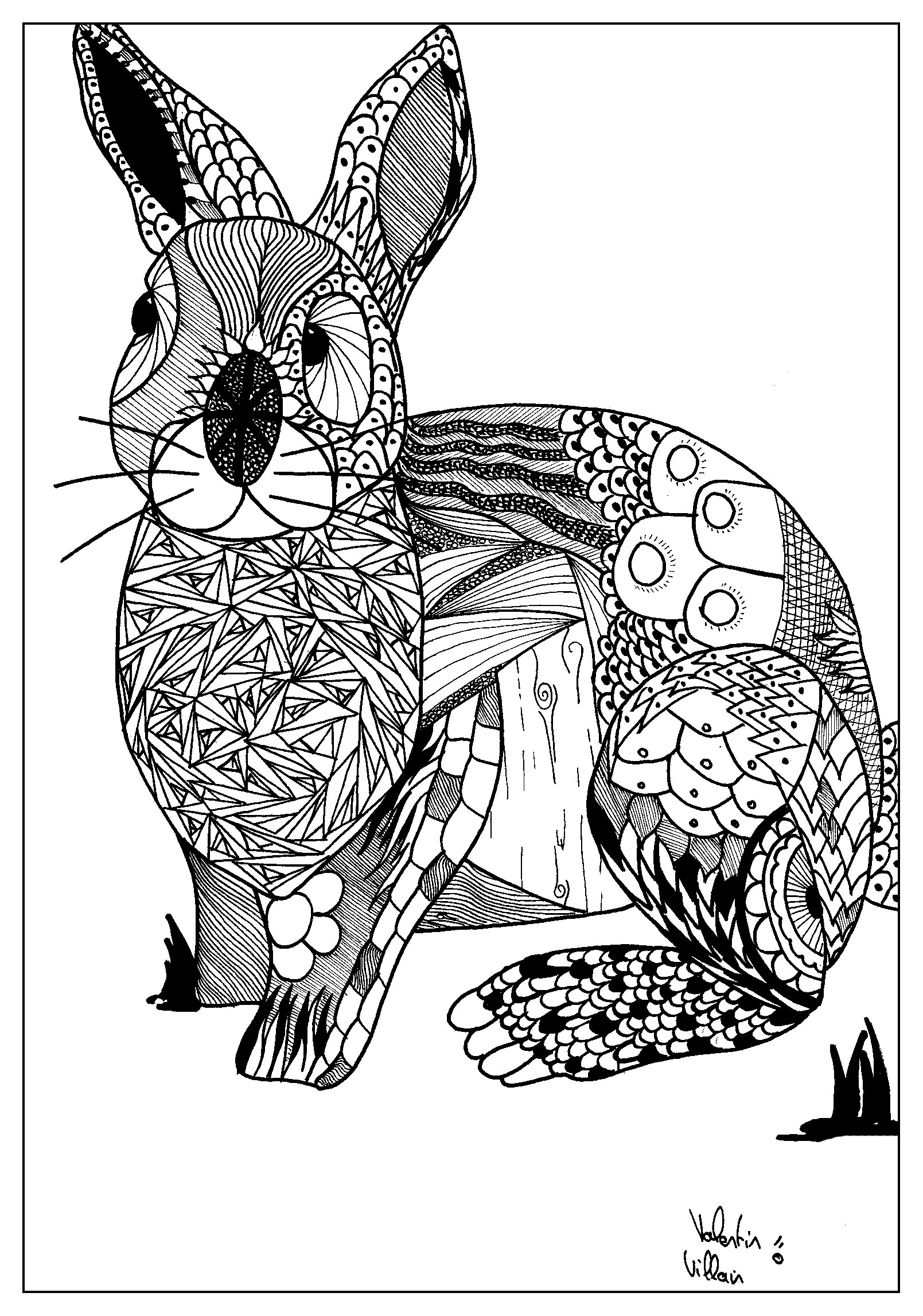 For the Easter a rabbit with a zentangle style