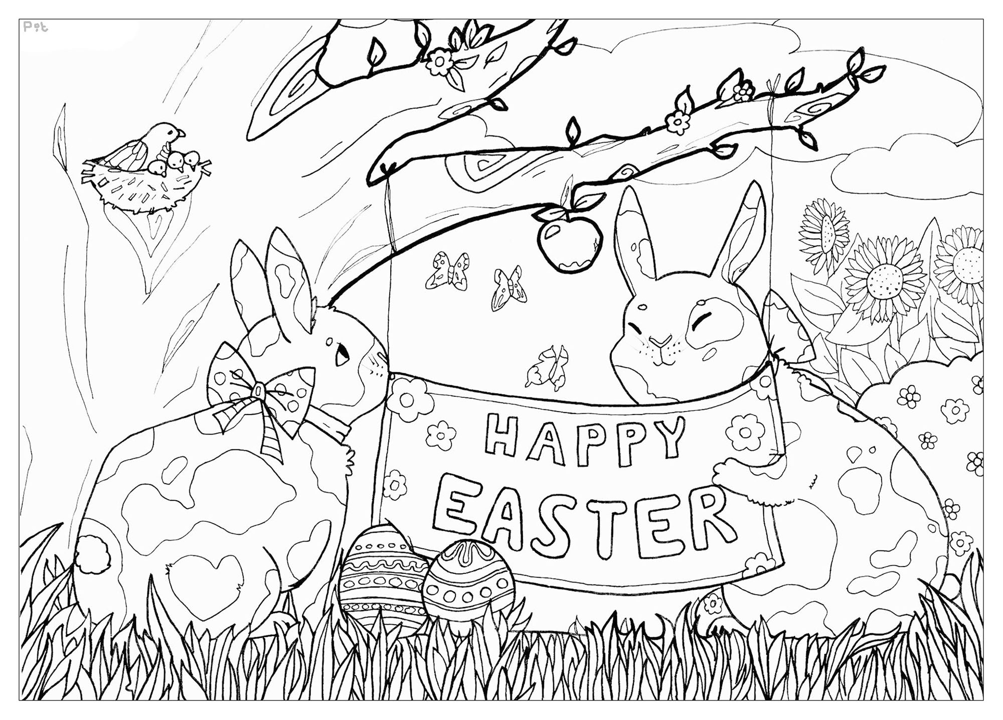 These cute bunnies want to celebrate Easter with you, Artist : Pauline