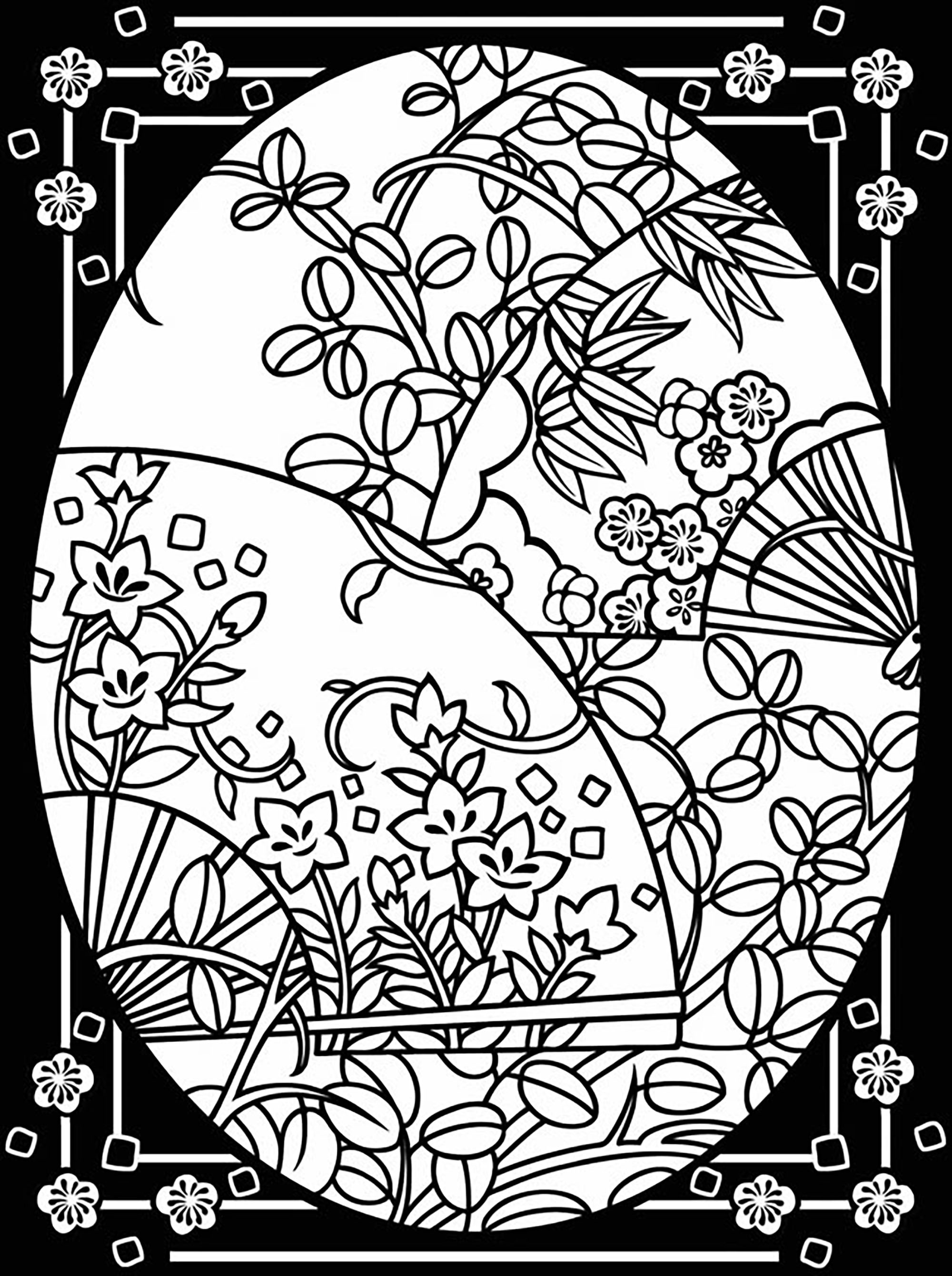 Easter egg with beautiful flowers and leaves, and large border