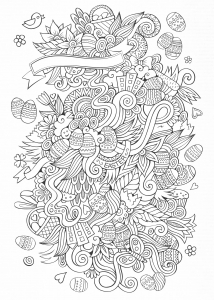 easter eggs easter bunnies baskets in a beautiful doodle perfect for a greeting card coloring adult easter
