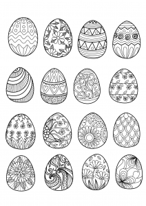 16 Easter Eggs To Print And Color Various Styles Ornaments