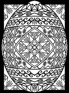 Easter eggs with abstract patterns