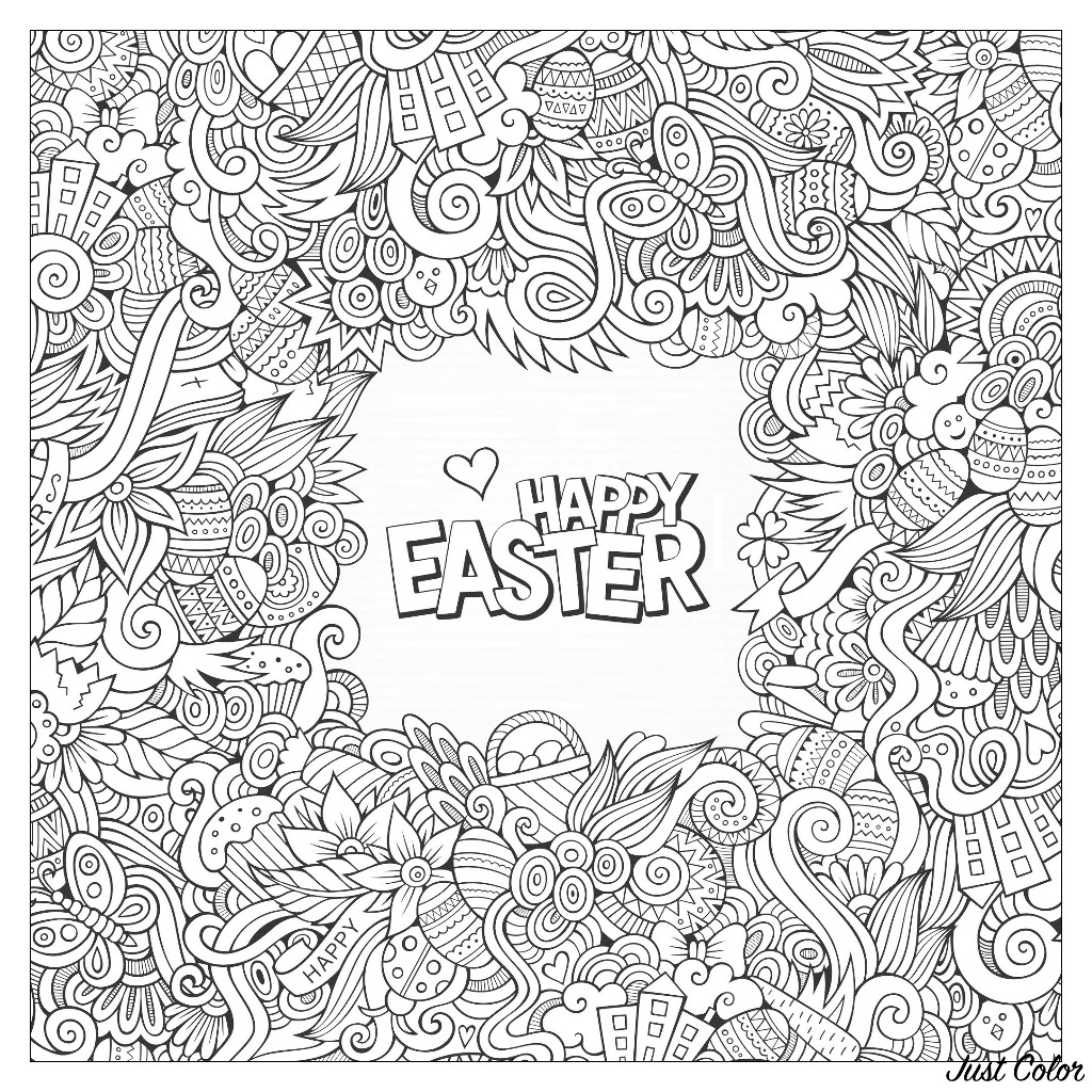 Easter greeting card to print and color ... for kids and adults
