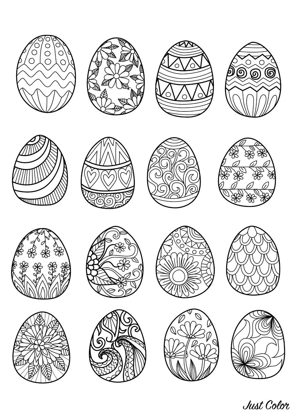 16 Easter eggs to print and color : various styles & ornaments