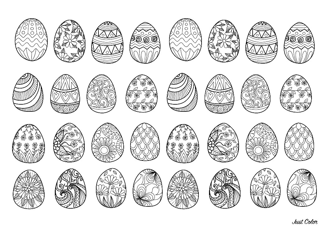 32 Easter eggs to print and color : various styles & patterns