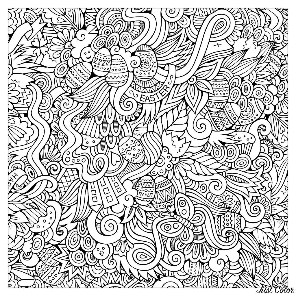 Easter hand drawn doodles : butterflies, eggs ... Very complex !