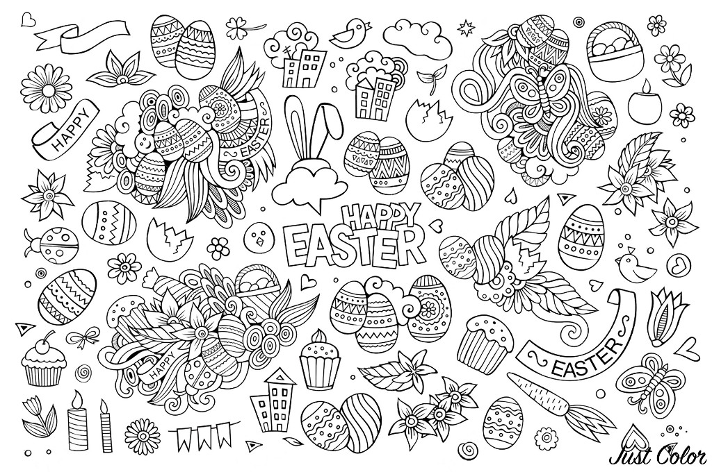 wt2 coloring adult simple easter doodle by olga kostenko