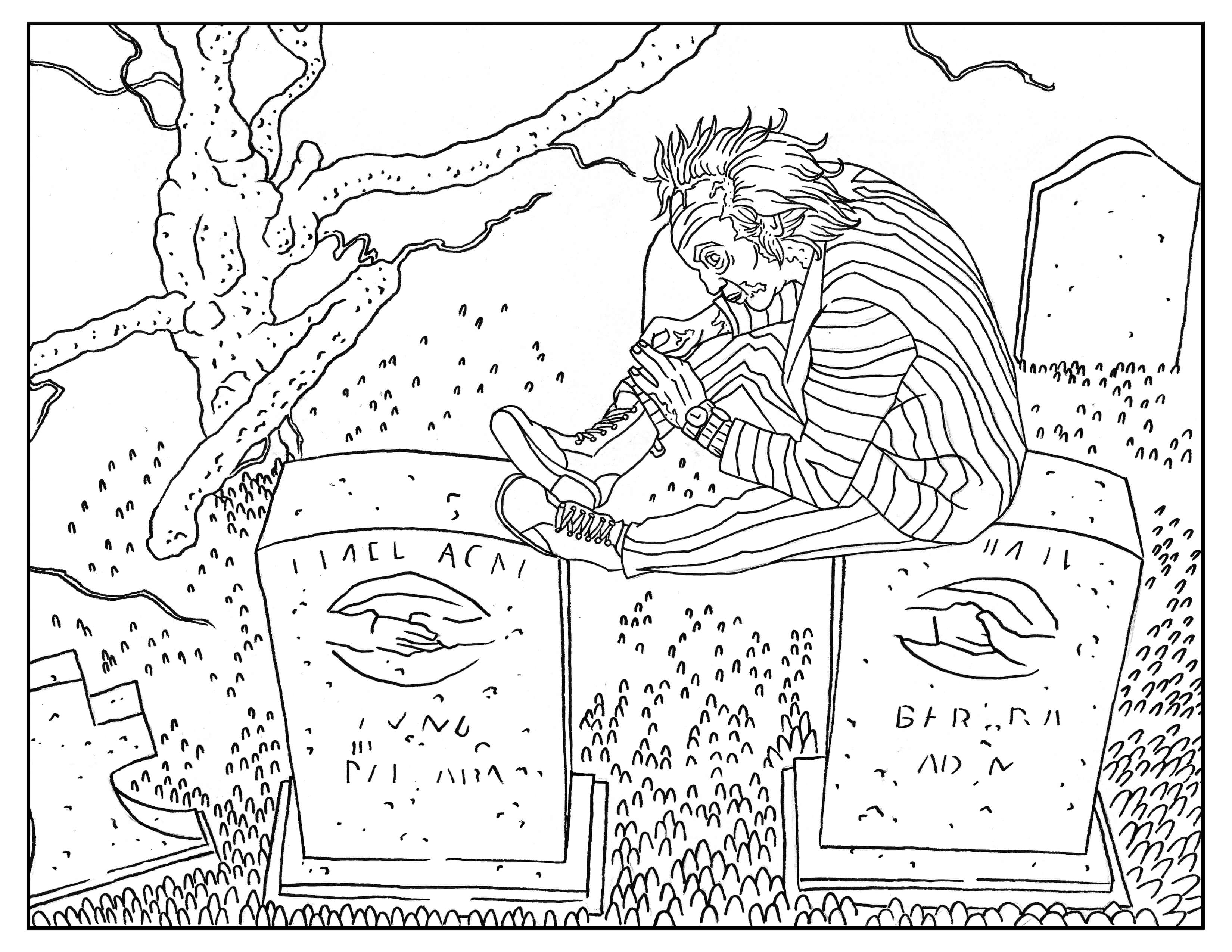 beetlejuice coloring pages Beetlejuice in a a cemetery   Halloween Adult Coloring Pages beetlejuice coloring pages