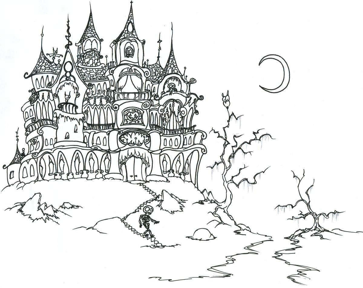 Coloring pages for halloween coloring contest - Coloring Adult Halloween Castle And Skeleton