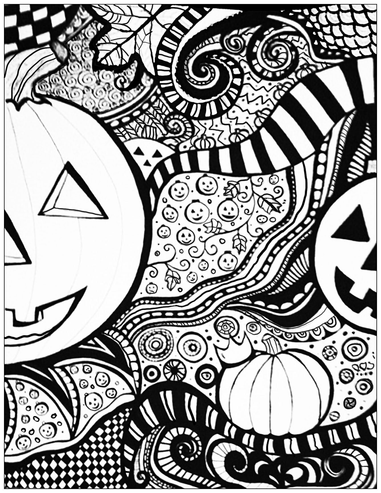 Halloween drawing to print & color, with a big pumpkin