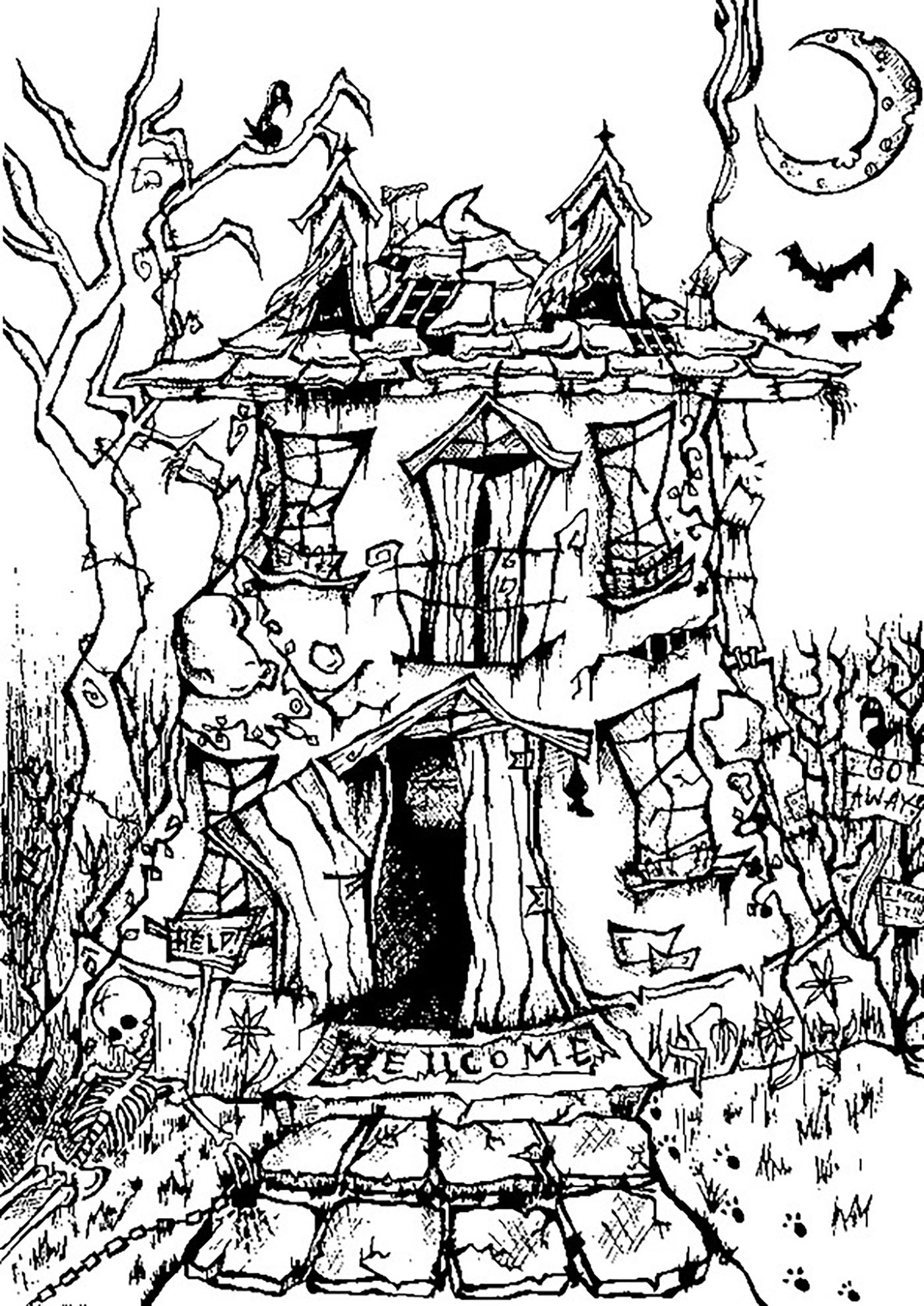 Halloween haunted house - Halloween Adult Coloring Pages