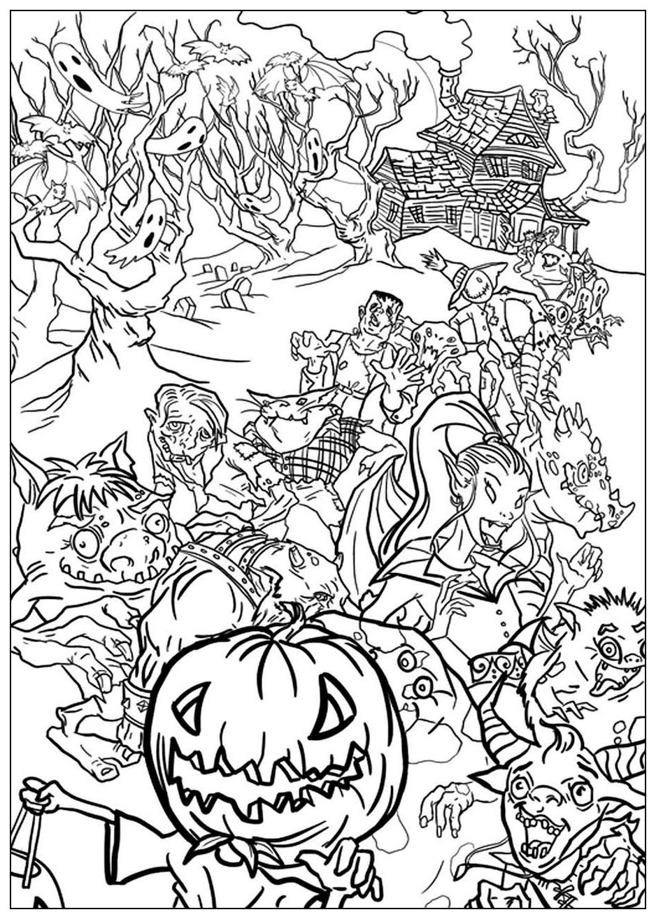 Coloring adult halloween monsters