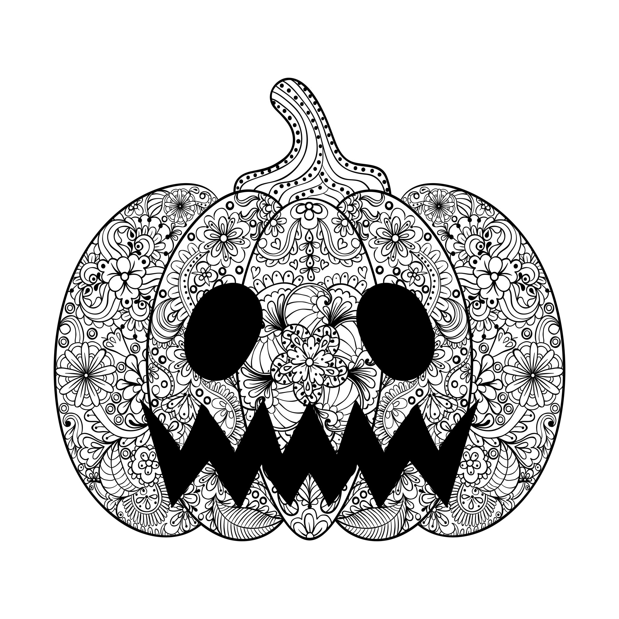 Pumpkin Illustration An Halloween Coloring Page Drawn In Zentangle Style