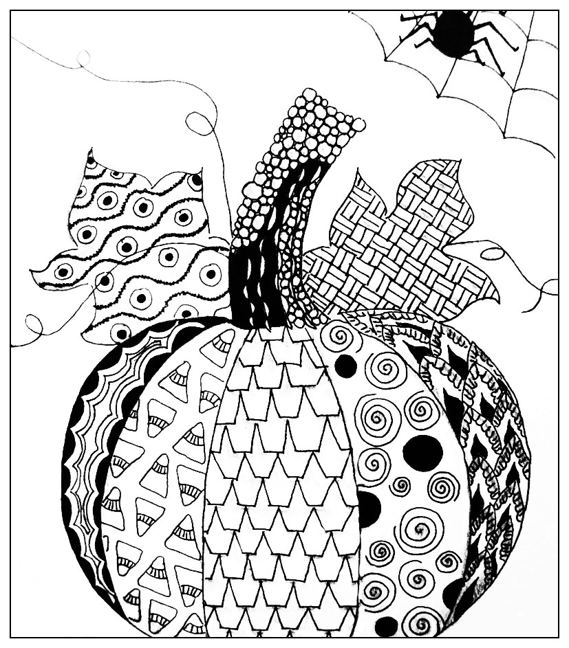 Halloween simple pumkin drawing halloween adult coloring for Halloween coloring pages for adults printables