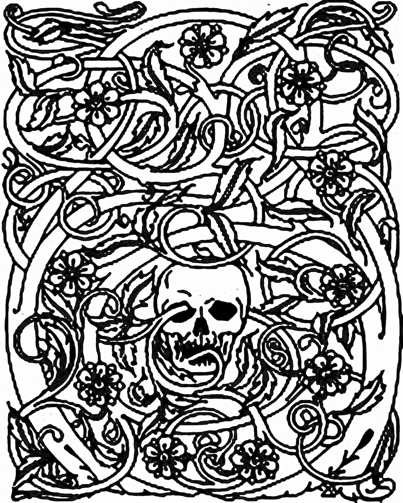 halloween skeleton and bramble halloween coloring pages for