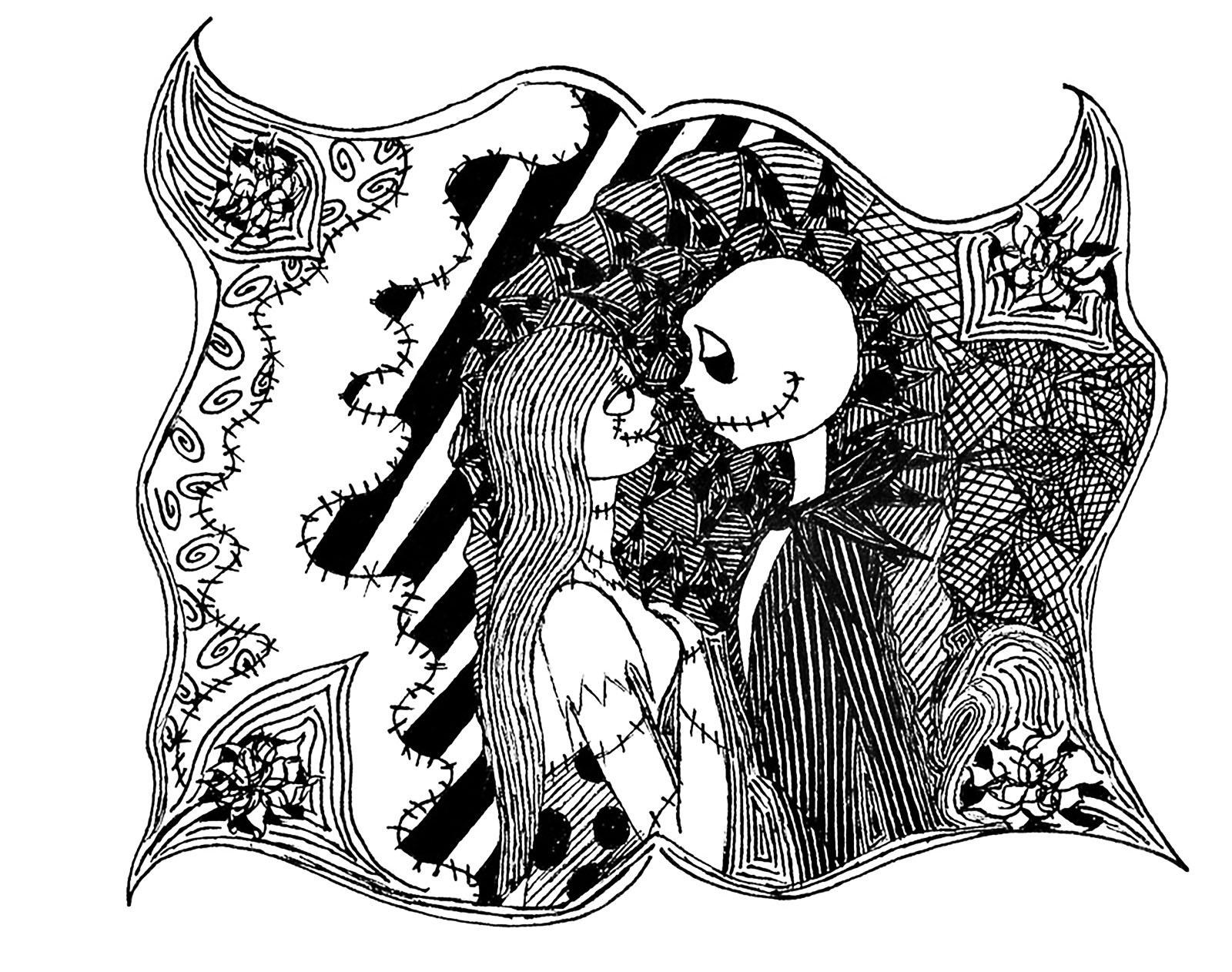 The nightmare before Christmas, by Tim Burton ... A coloring page for Halloween