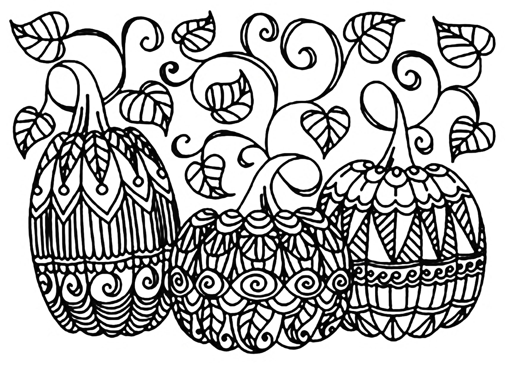 Halloween three pumpkins halloween adult coloring pages for Pumpkin coloring pages for adults