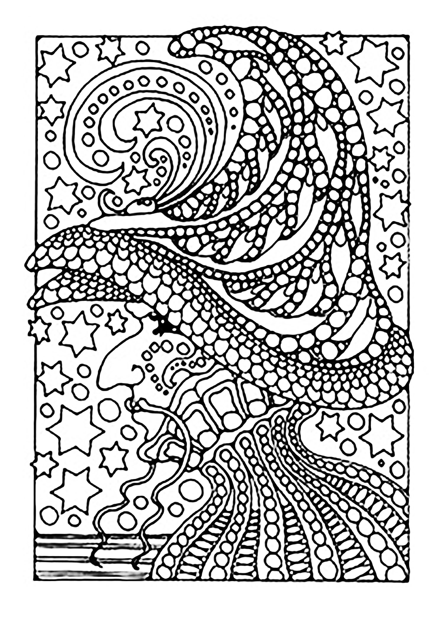 Halloween witch and stars | Halloween - Coloring pages for adults ...
