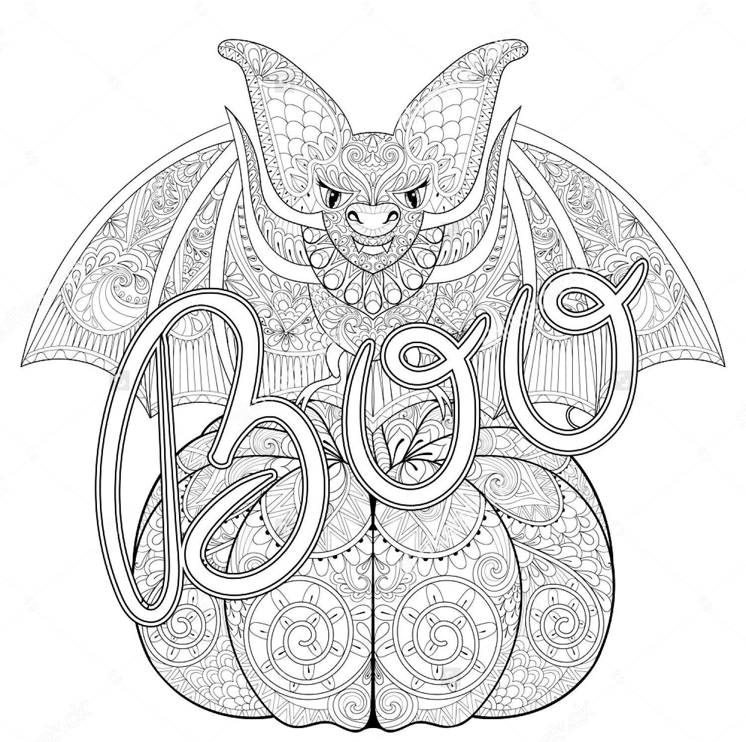 Coloring adult halloween zentangle bat