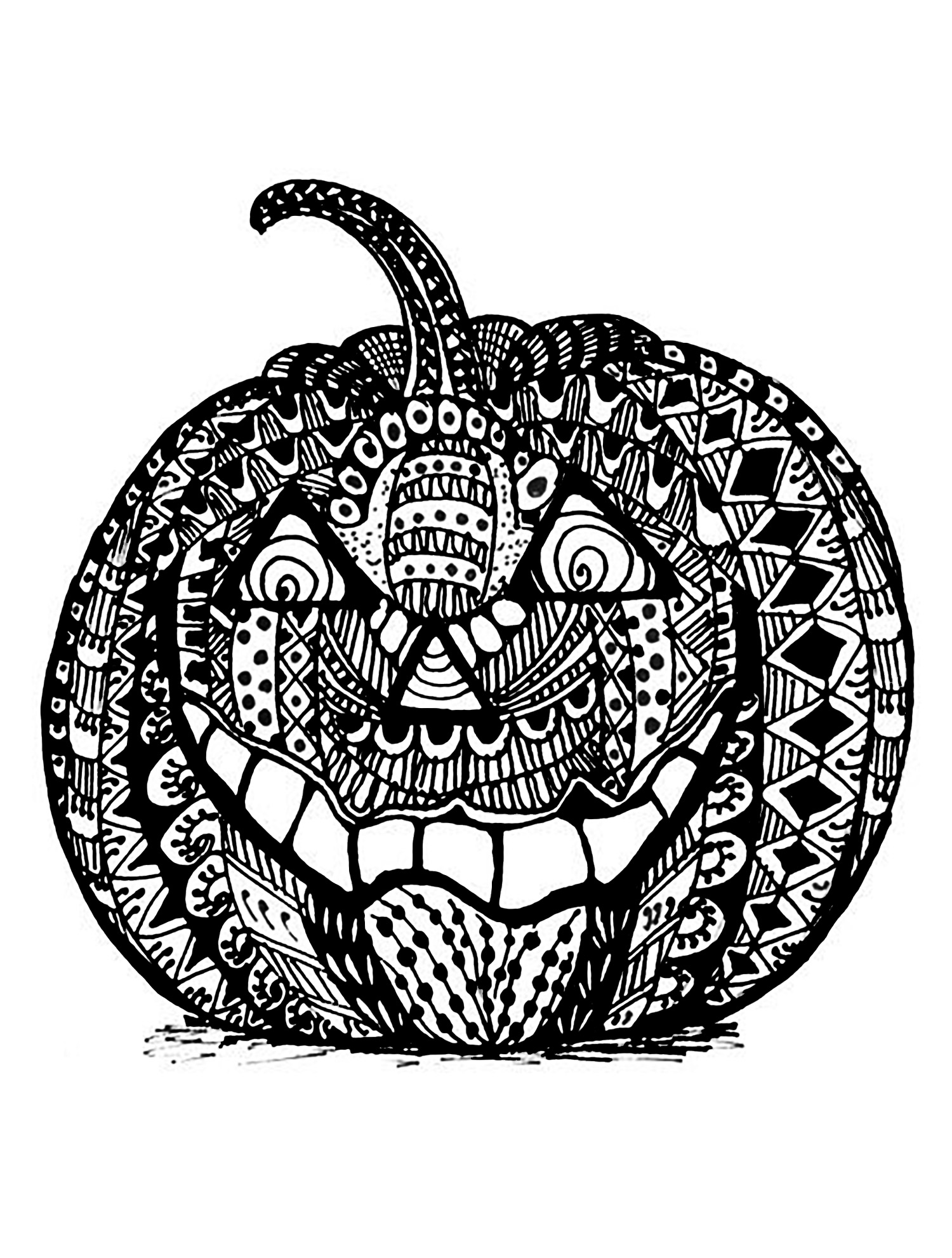 Coloring Page Halloween Zentangle Pumpkin A Drawing Representing