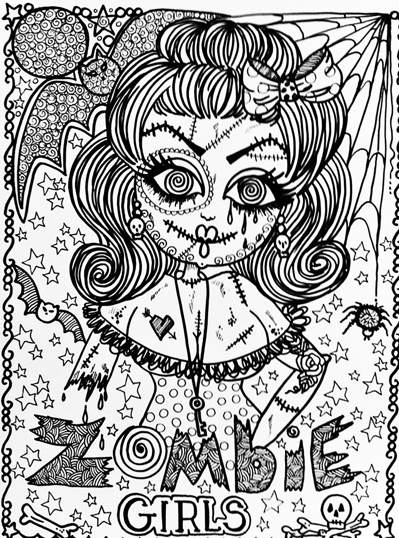 Halloween Zombie Girl Halloween Adult Coloring Pages