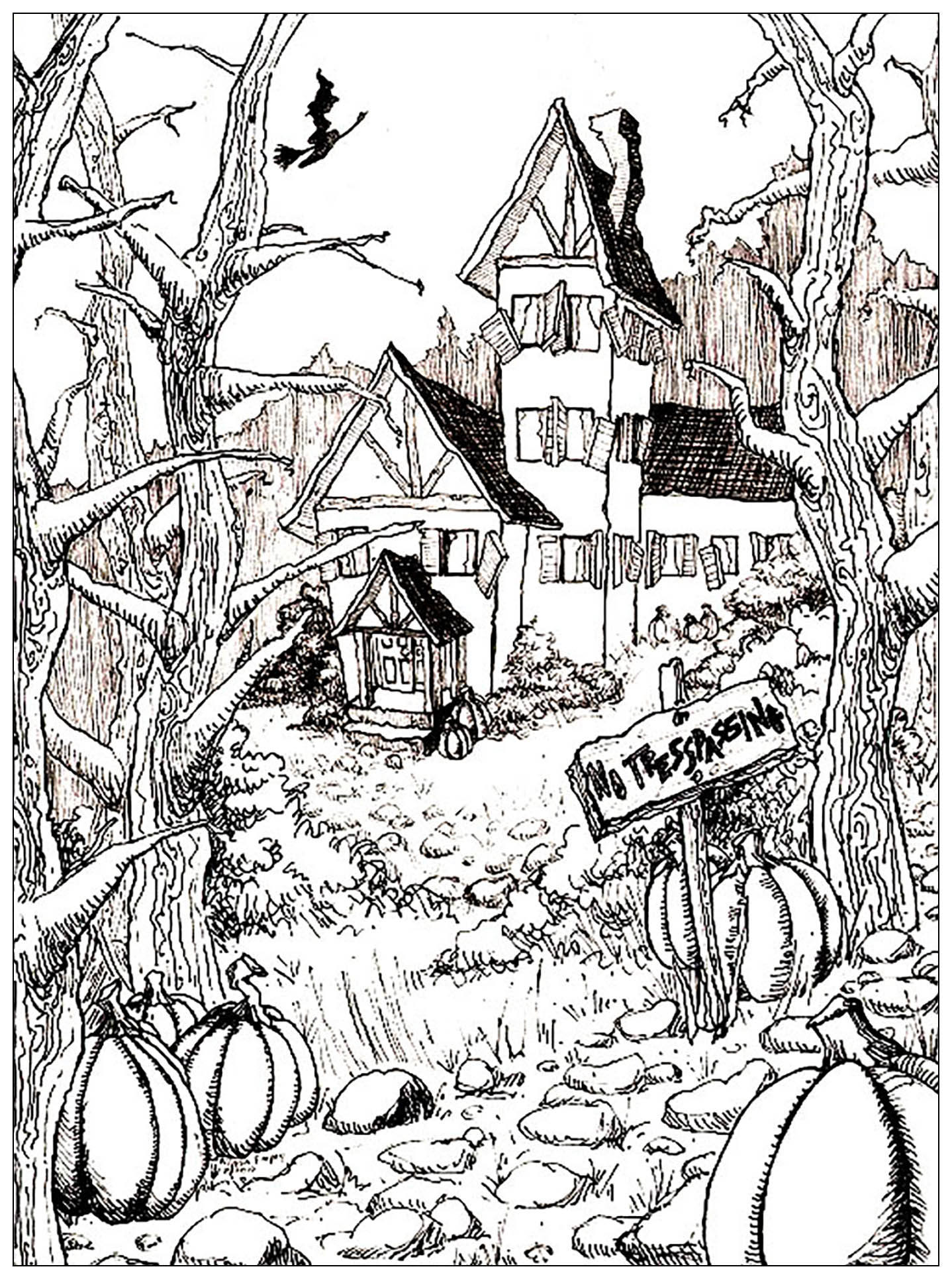 Haunted house to print and color, with big pumpkins