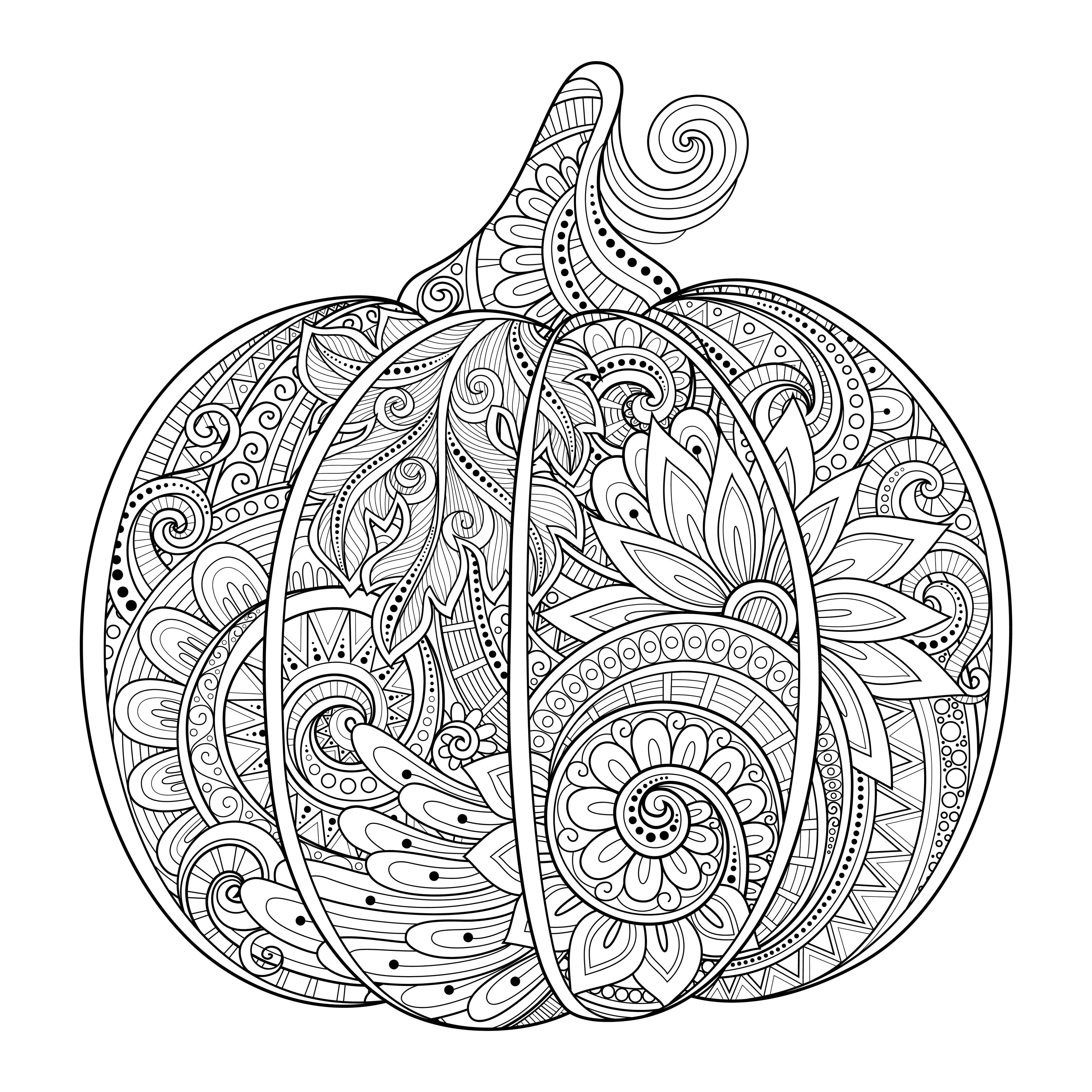 A Zentangle Pumpkin Coloring Page