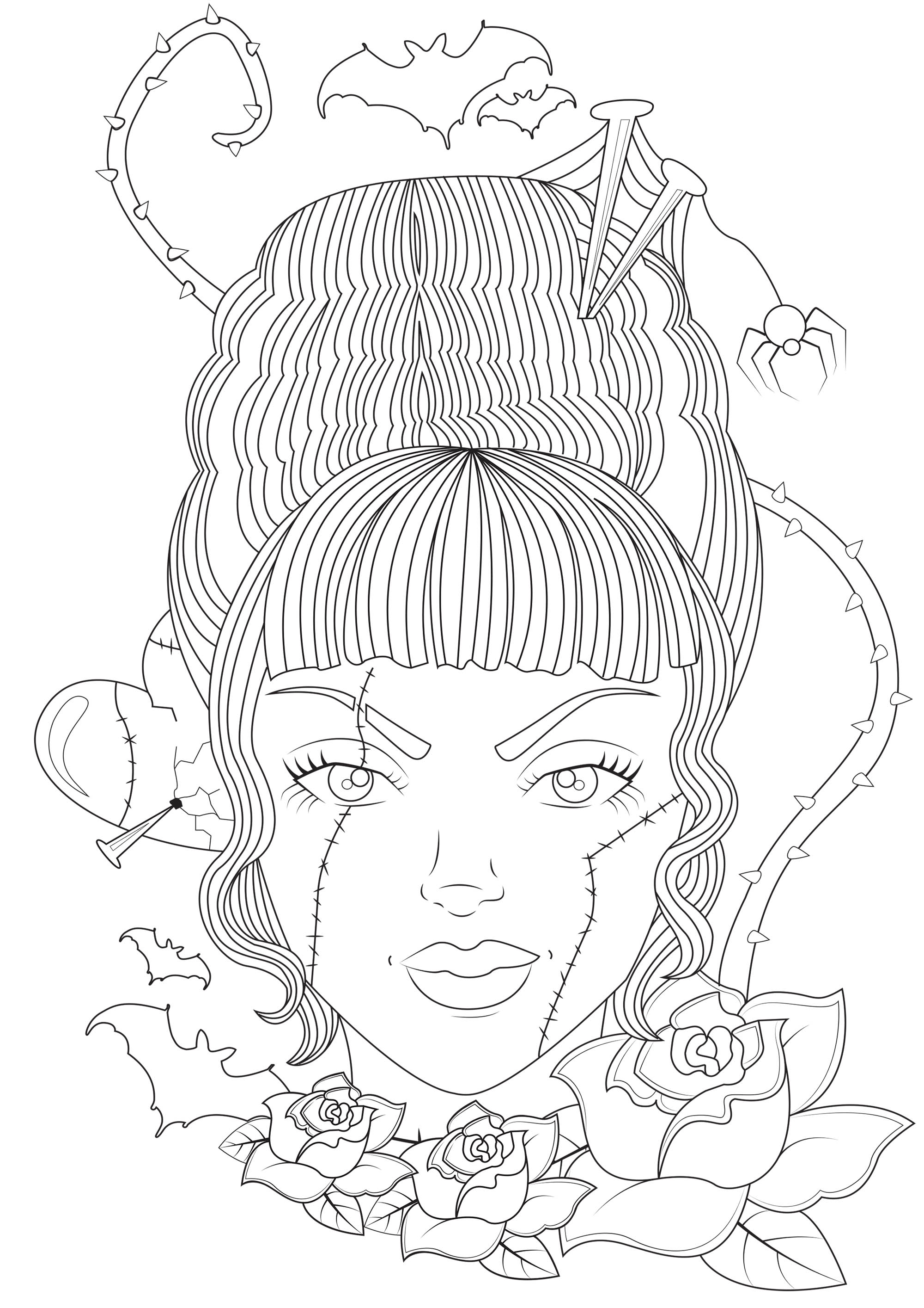 Bride Of Frankenstein Halloween Adult Coloring Pages