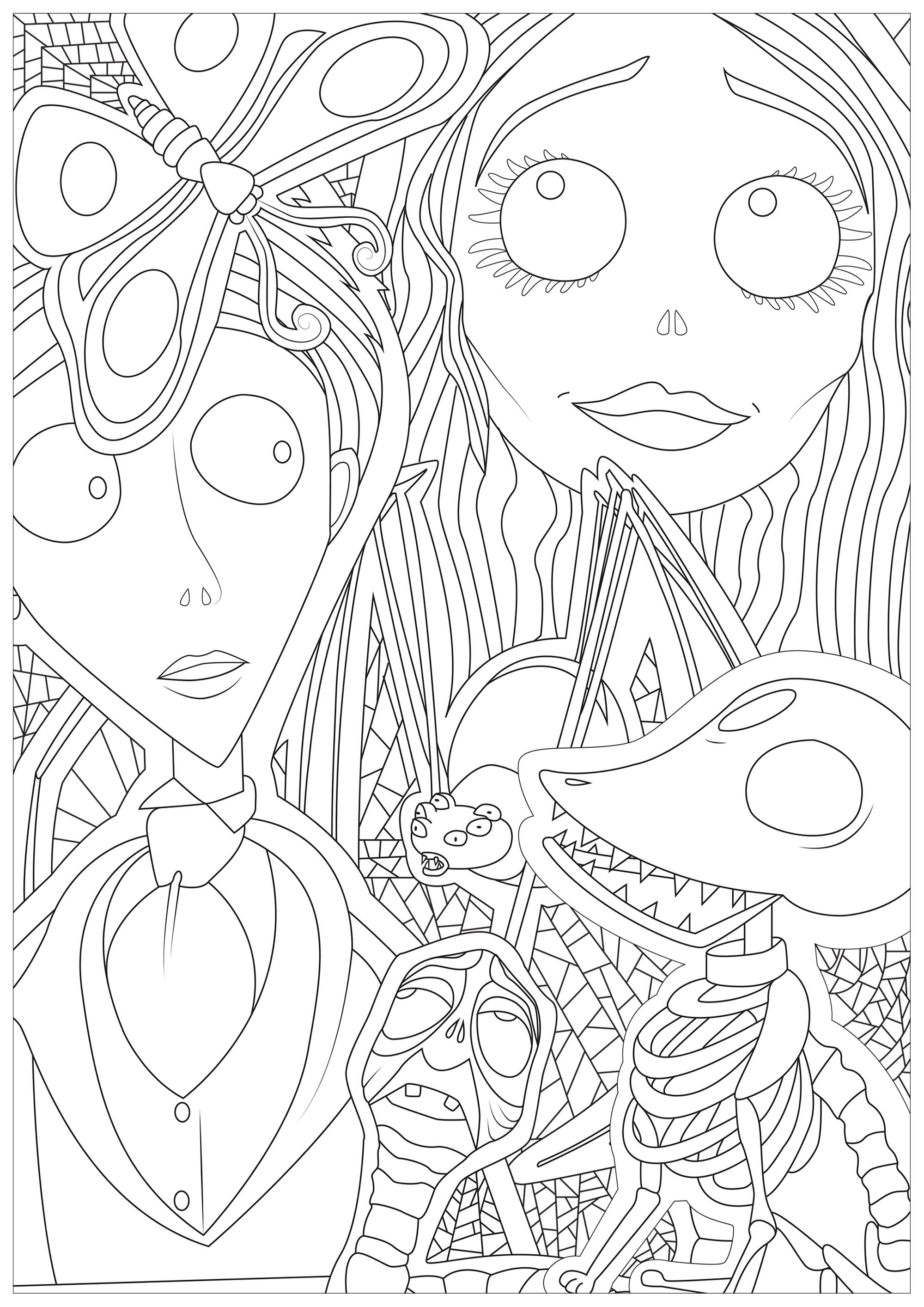 Coloring Page Corpse Bride Victor And Victoria From Tim Burtons 2005