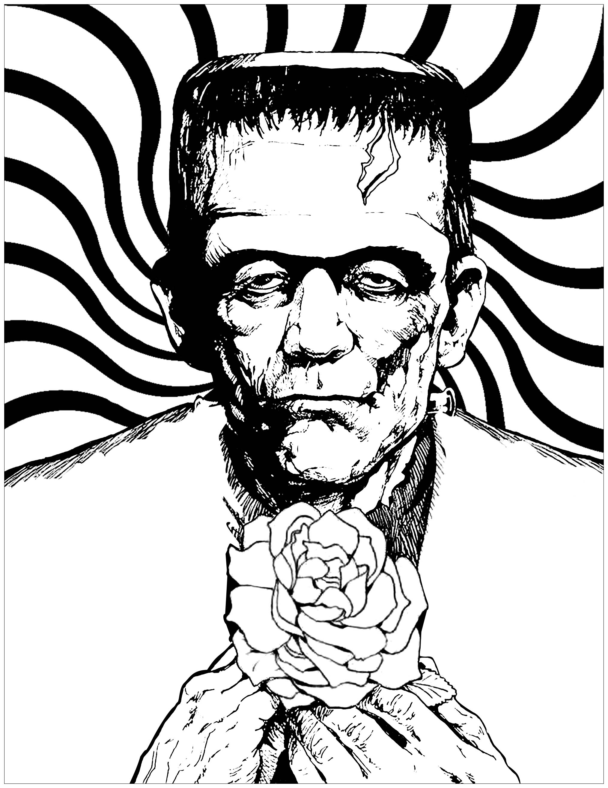 Frankenstein monster, with a cute rose