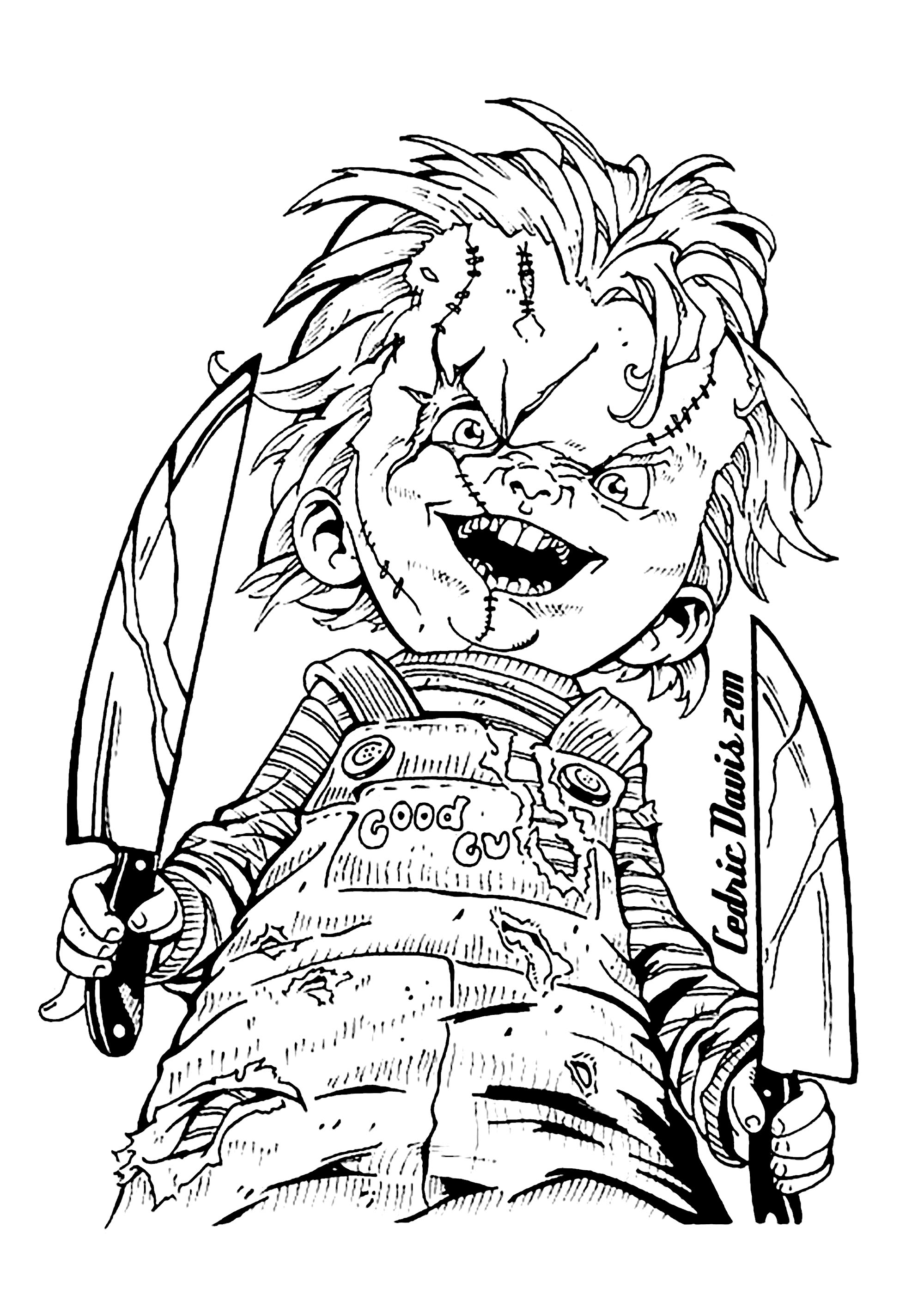 Color this scary Chucky coloring page for Halloween