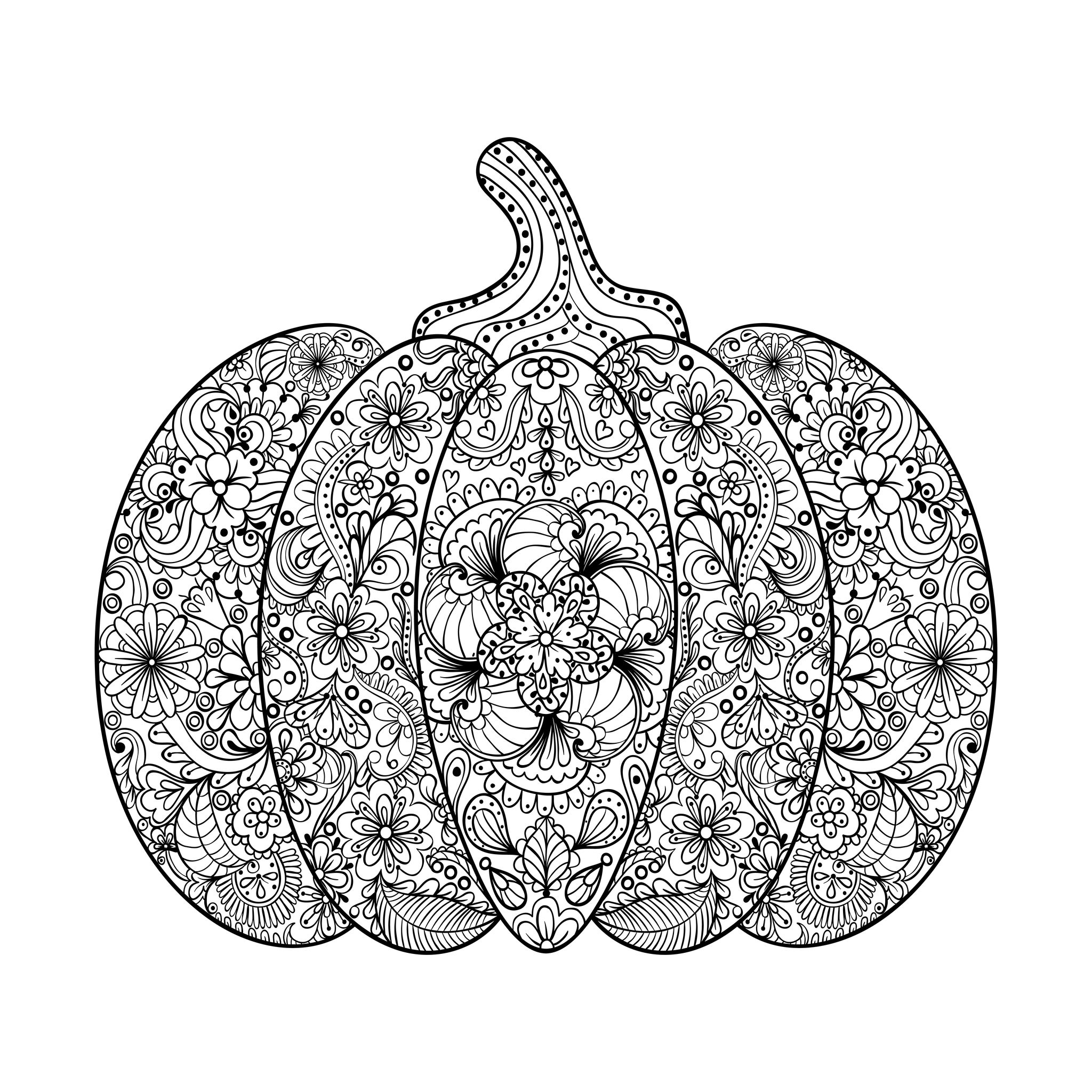 Halloween Coloring Pages Advanced : Halloween complex pumpkin with flowers and leaves by