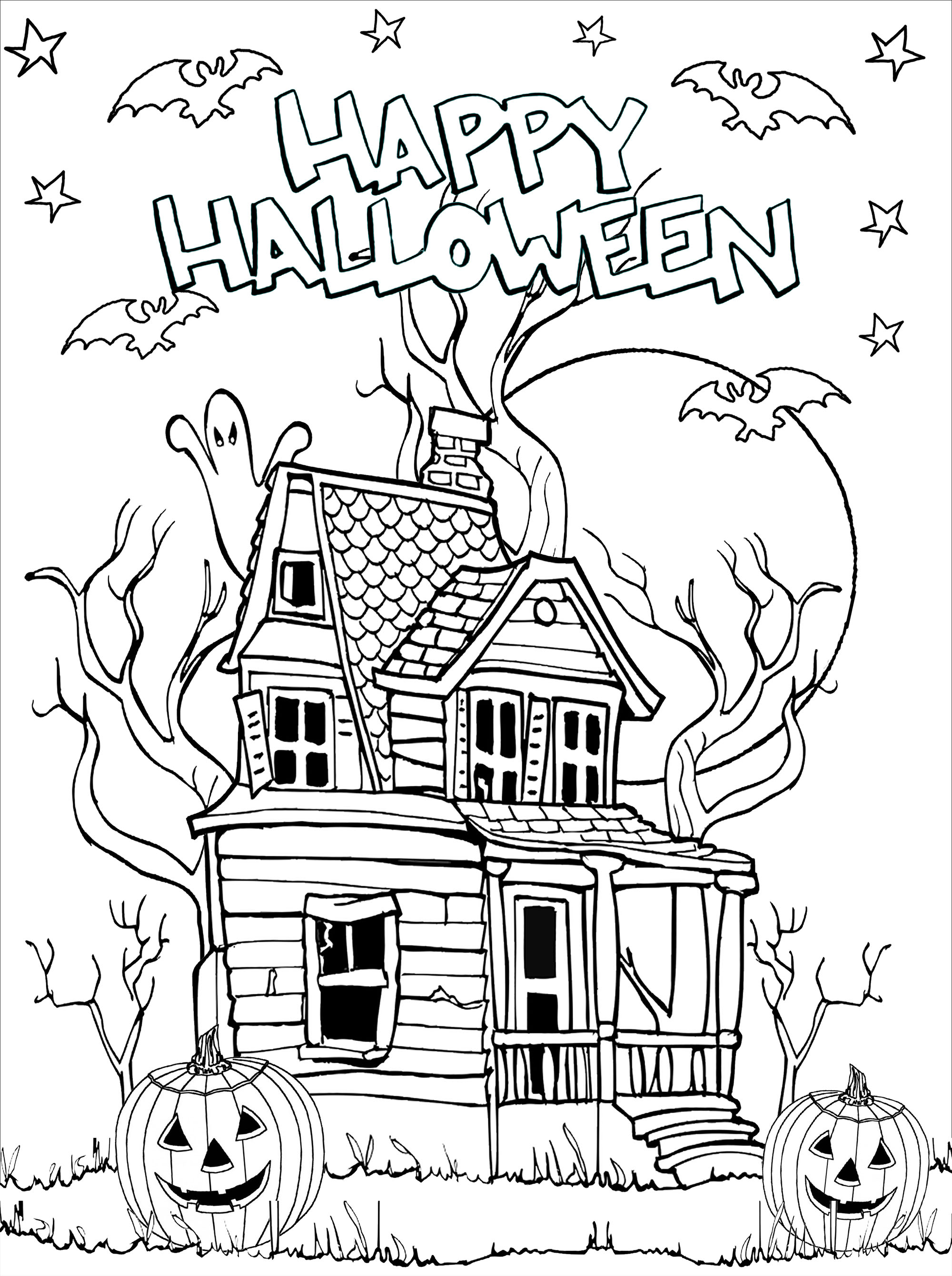 Haunted house to print and color with pumpkins (Jack-o'-lantern), dead trees, bats, moon and stars