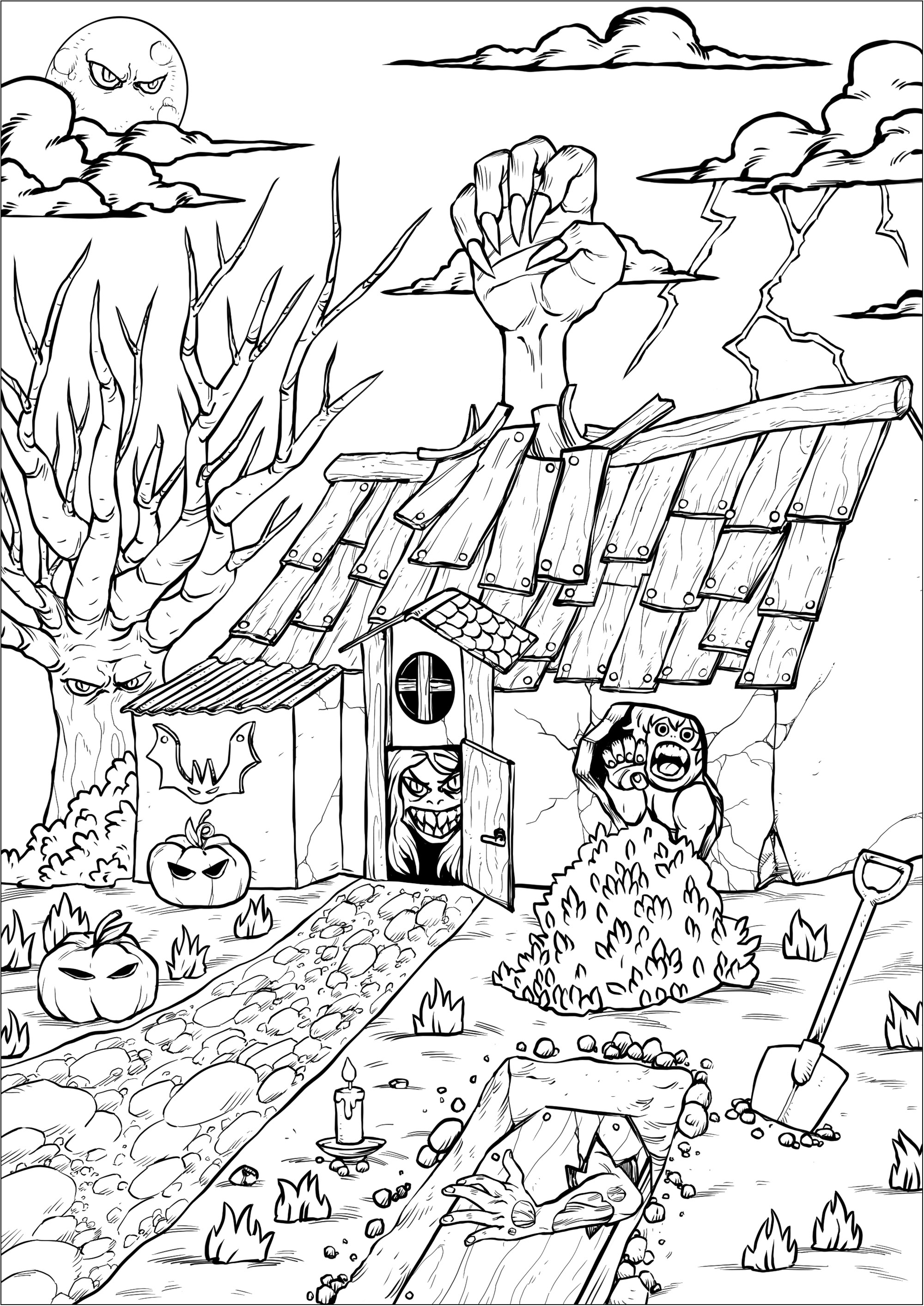 Haunted house full of strange characters ... A really scary coloring page
