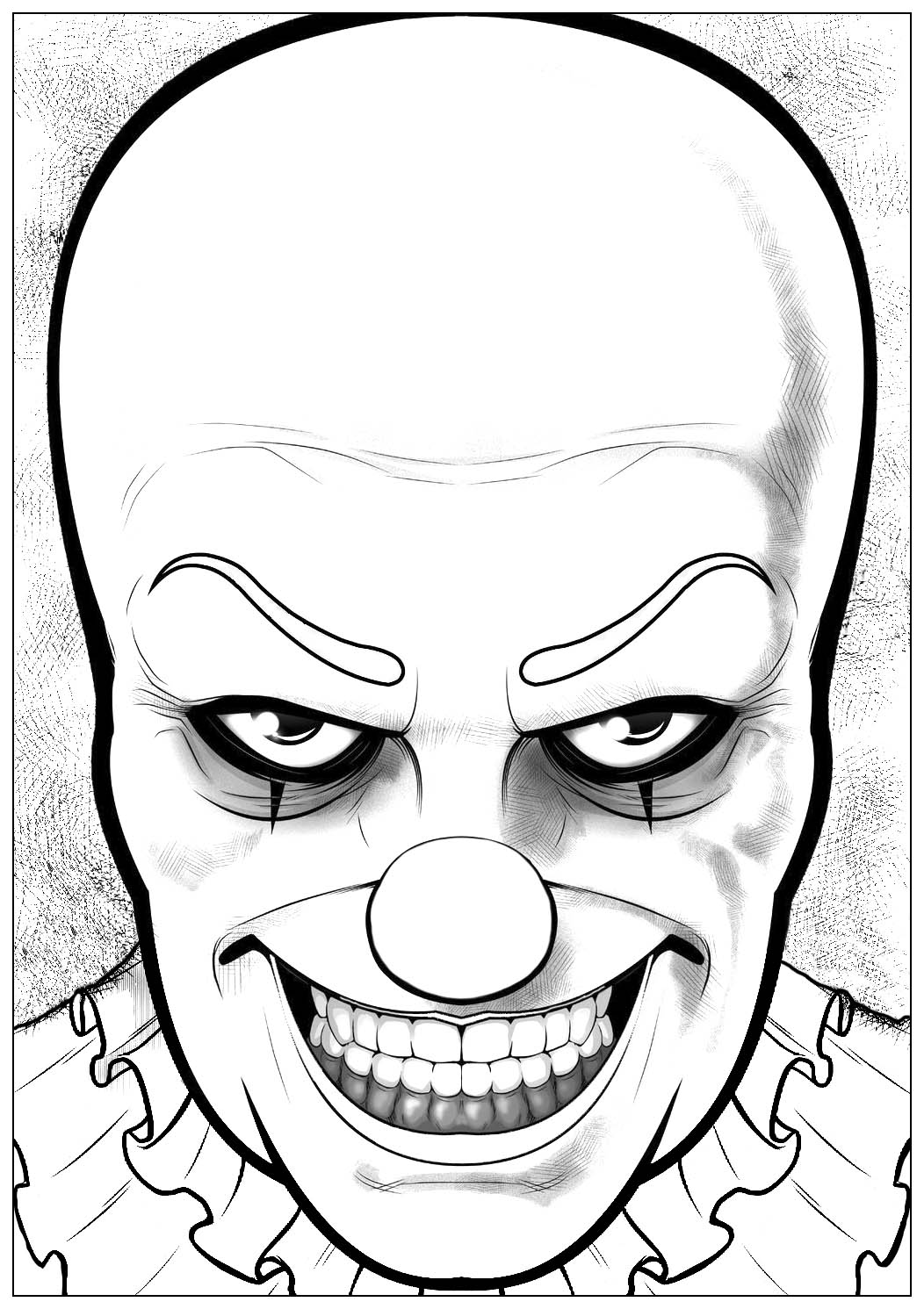 Would you dare to color this horrible Pennywise, the clown from 'It' ?