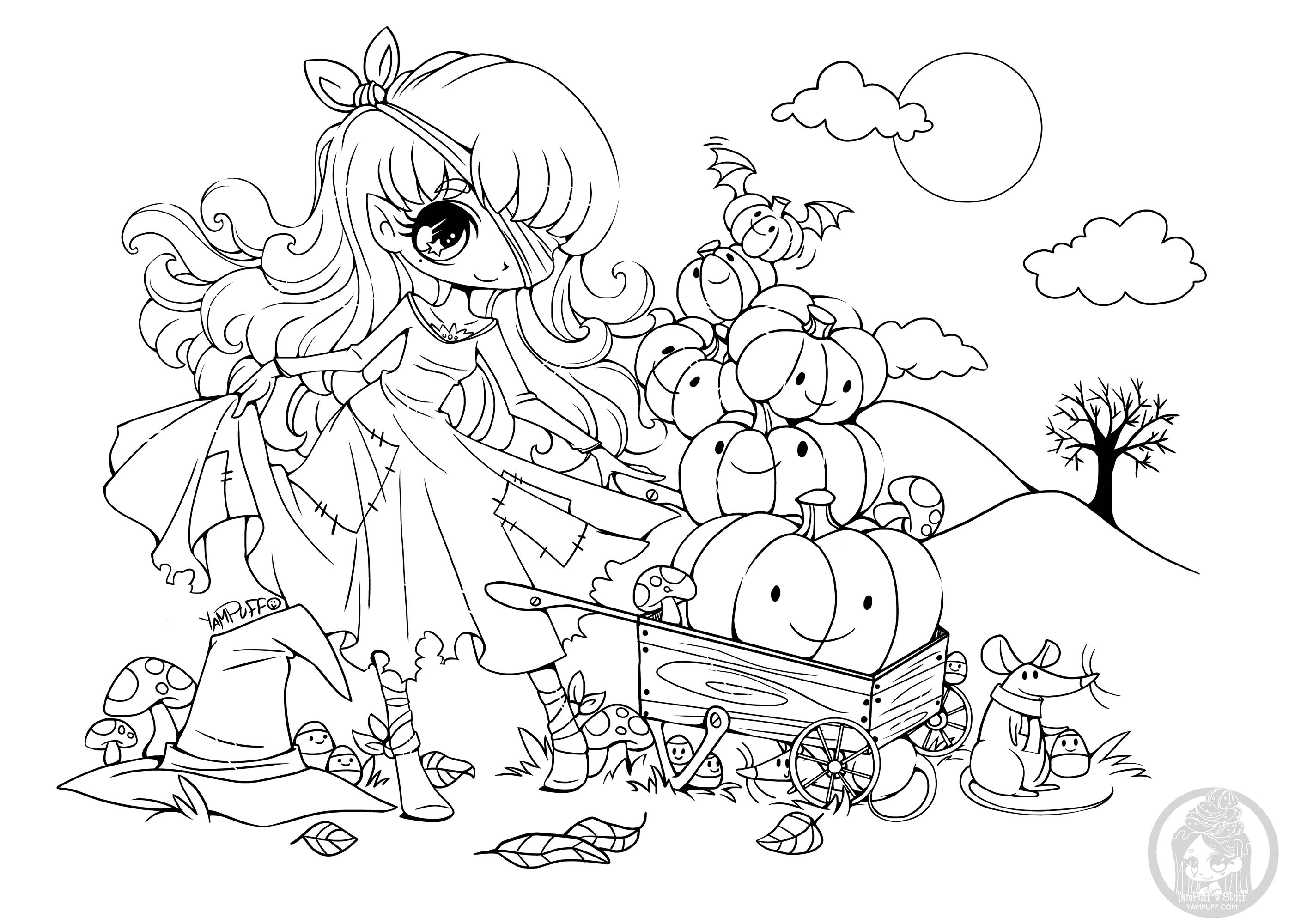 This pumpkin princess is almost ready for Halloween, she just needs some colors !